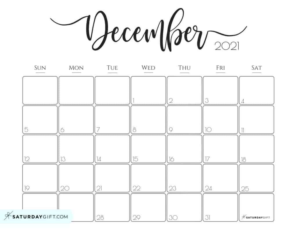 Elegant 2021 Calendarsaturdaygift - Pretty Printable