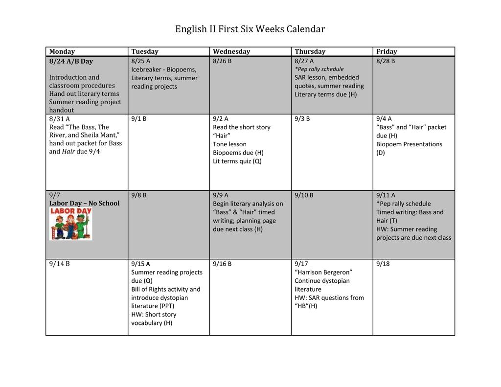 English Ii First Six Weeks Calendar