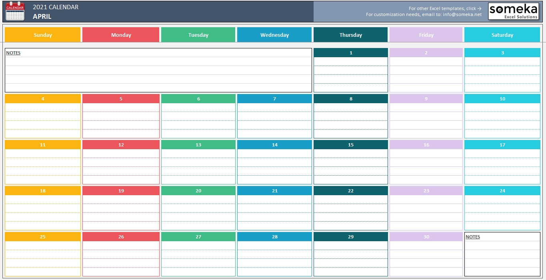 Excel Calendar Template 2020 - Free Printable Calendar