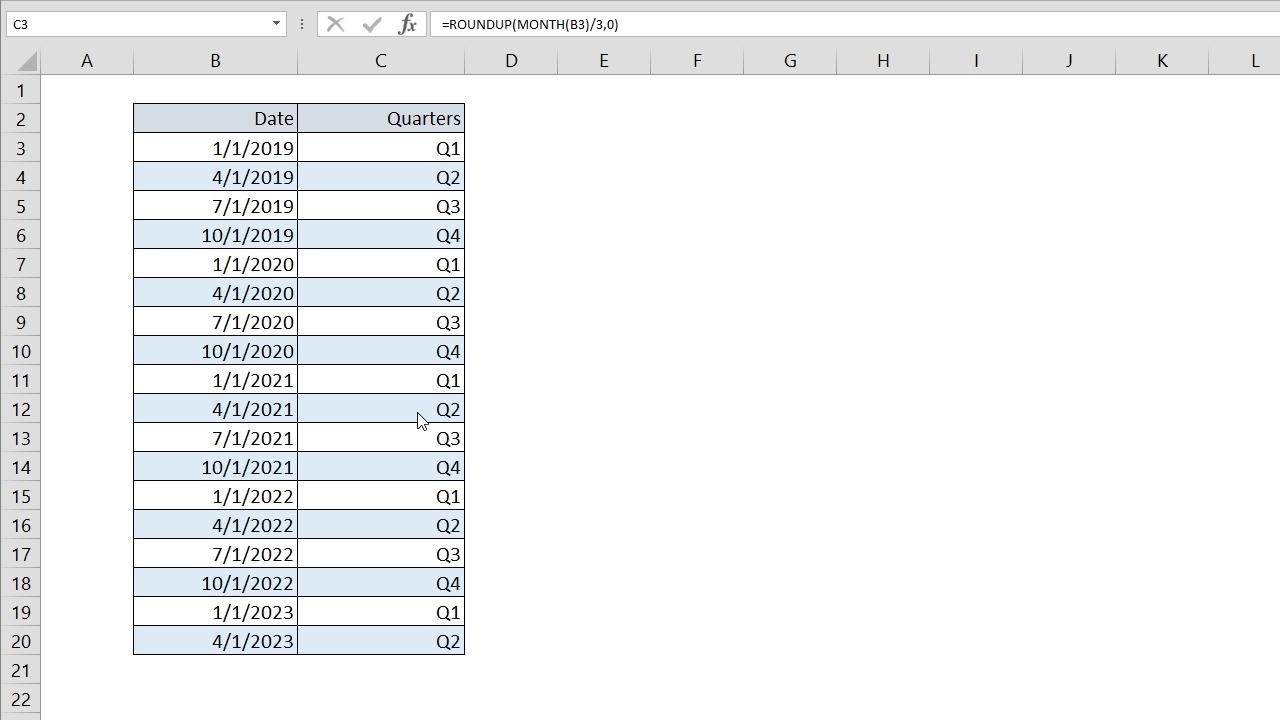 Excel Quarter Formula Representation