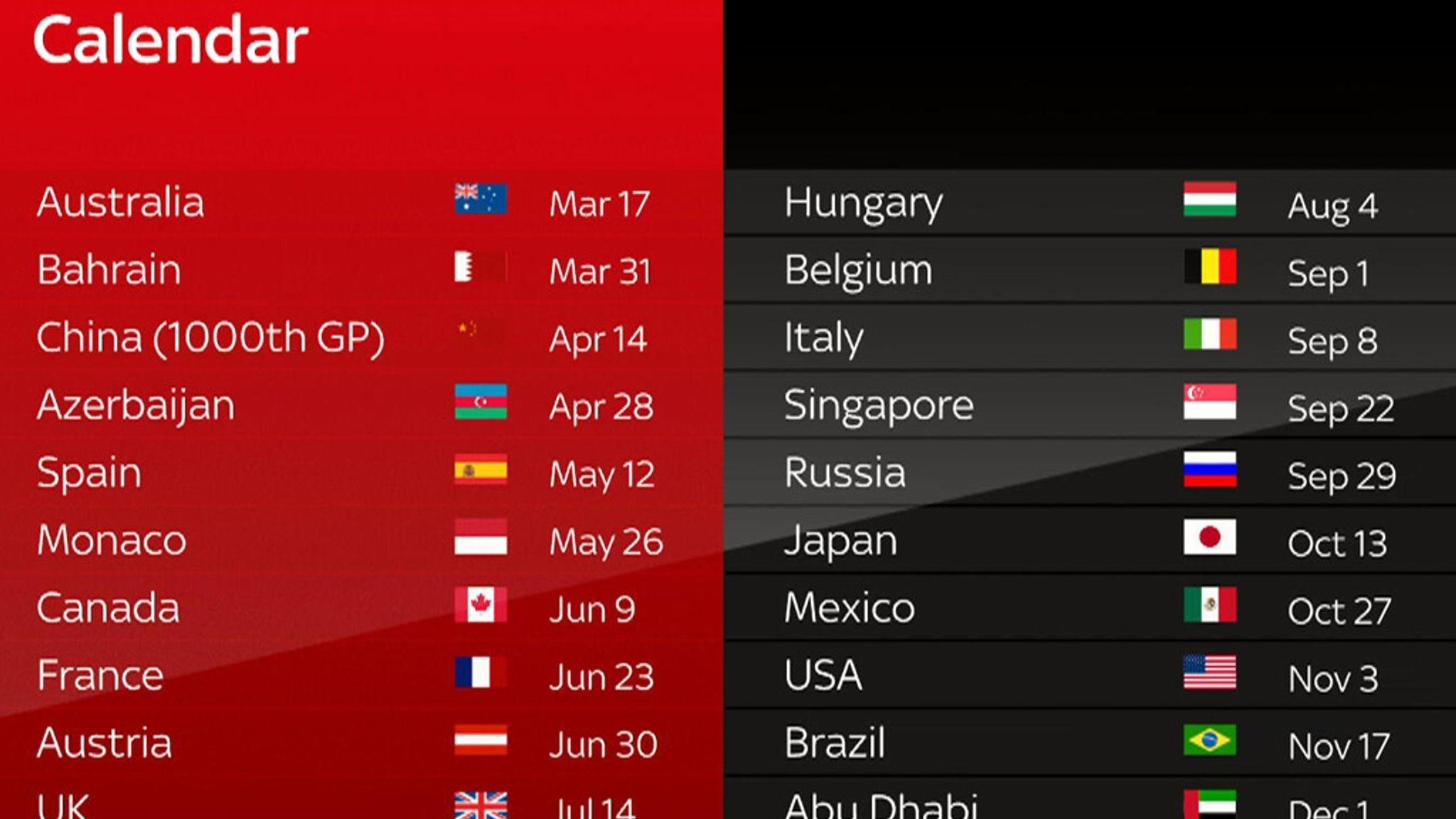 F1 2019 Schedule: 21-Race Calendar And December Finish | F1 News