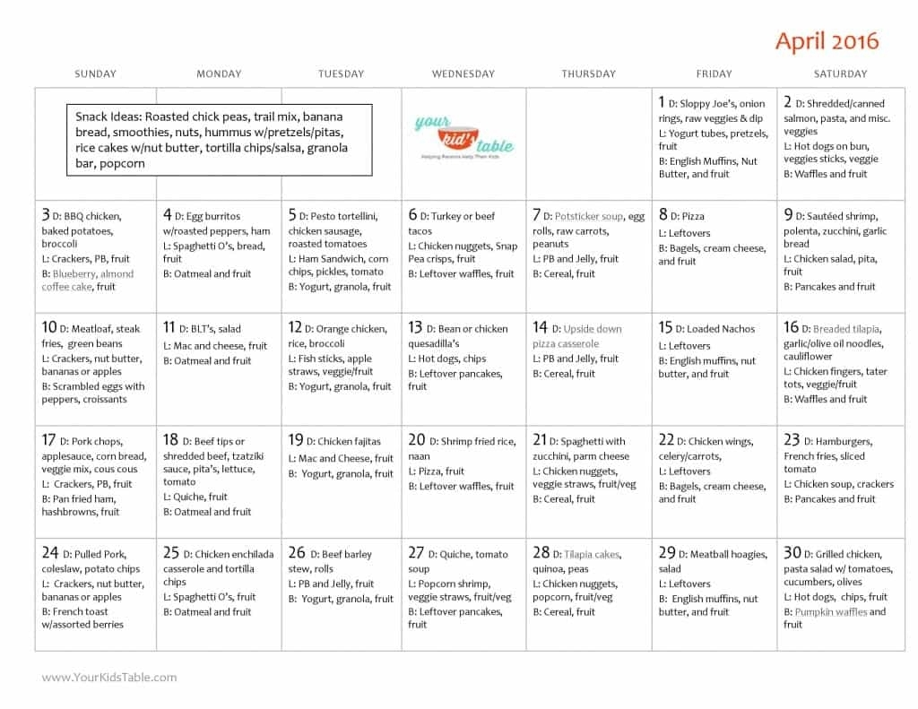 Family Friendly April Monthly Menu Plan - Your Kid'S Table