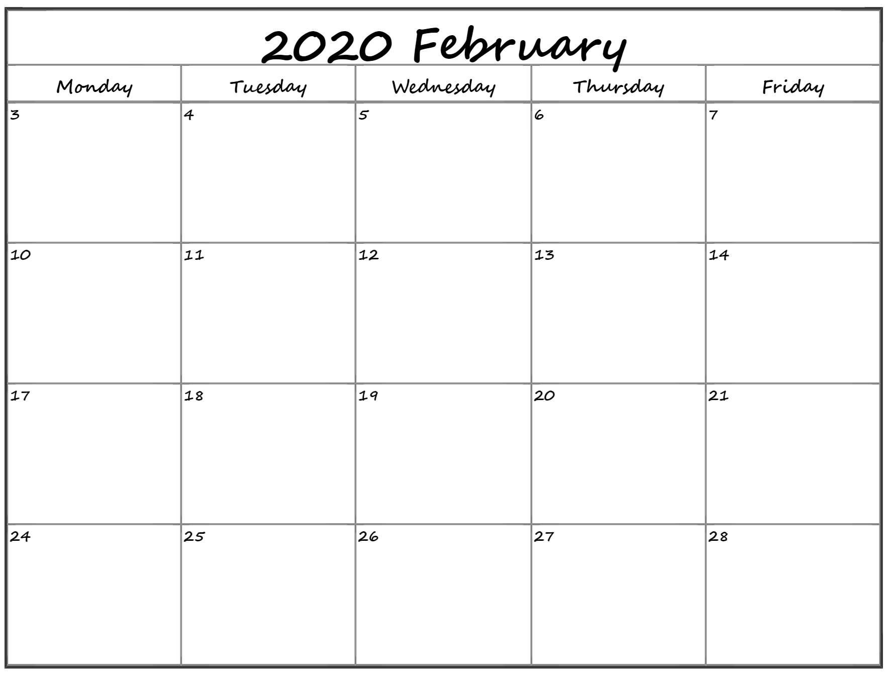 February 2020 Monday Calendar   Monday To Sunday
