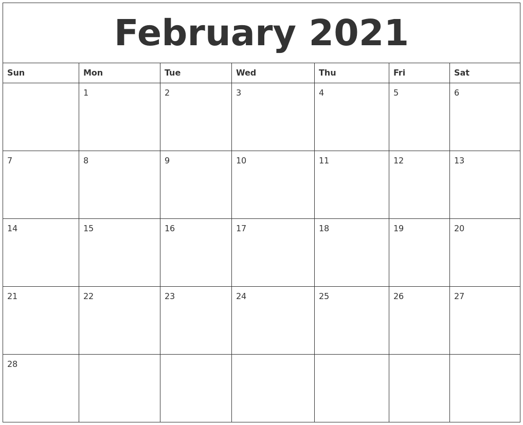February 2021 Editable Calendar Template