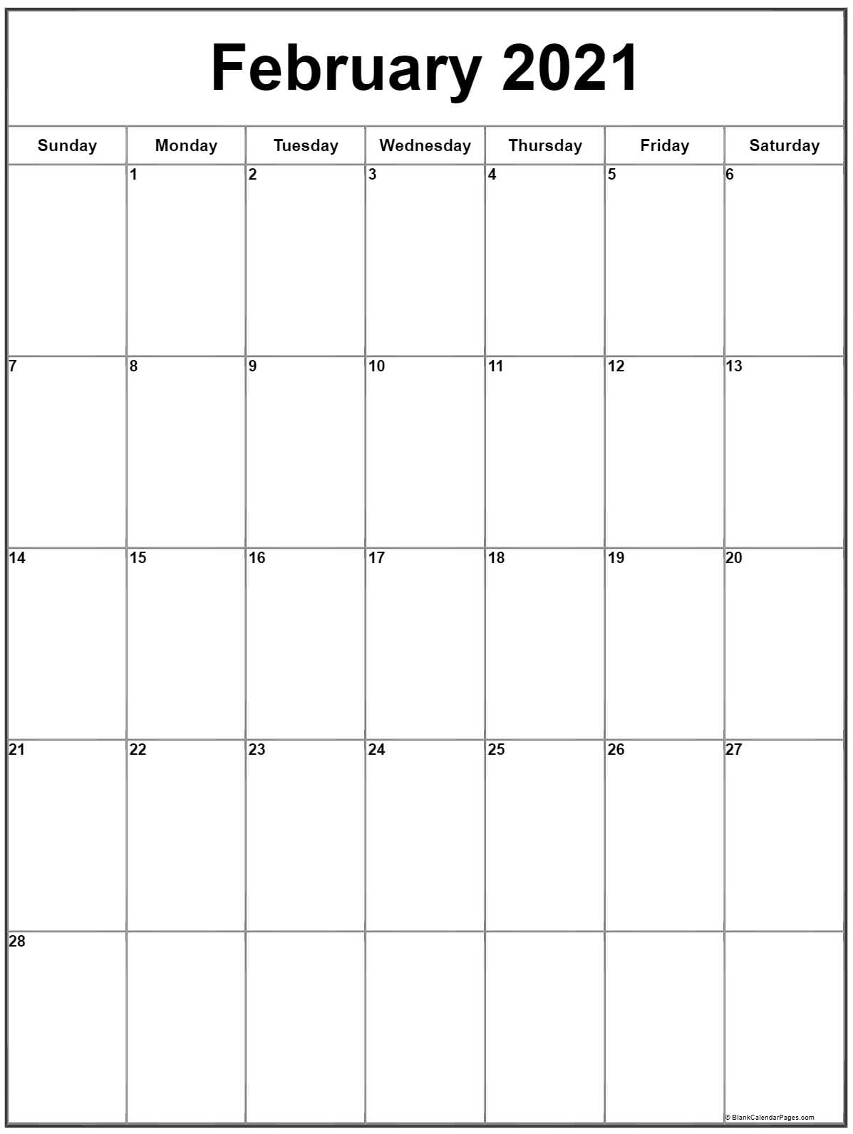 February 2021 Vertical Calendar | Portrait