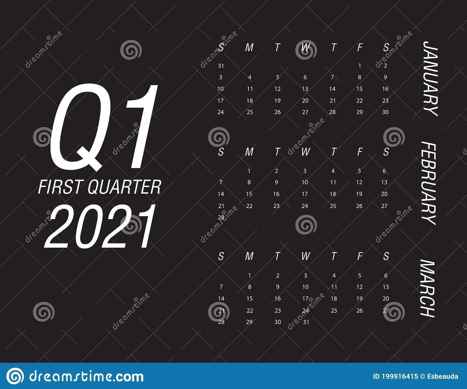 First Quarter Of Calendar 2021 Stock Vector - Illustration