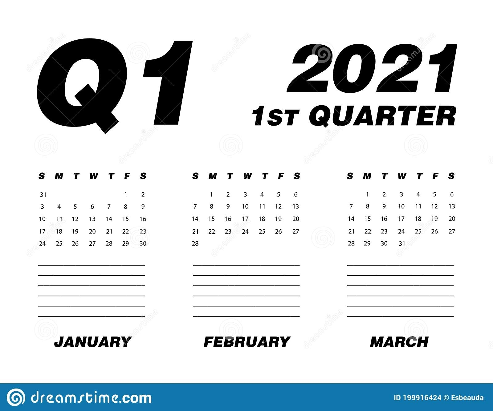 First Quarter Of Calendar 2021 Stock Vector - Illustration