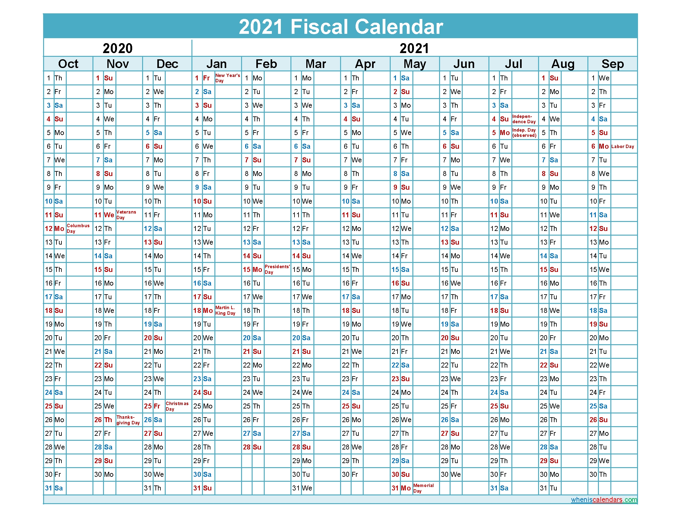 Fiscal Calendar 2021 Federal Fiscal Year – Template No