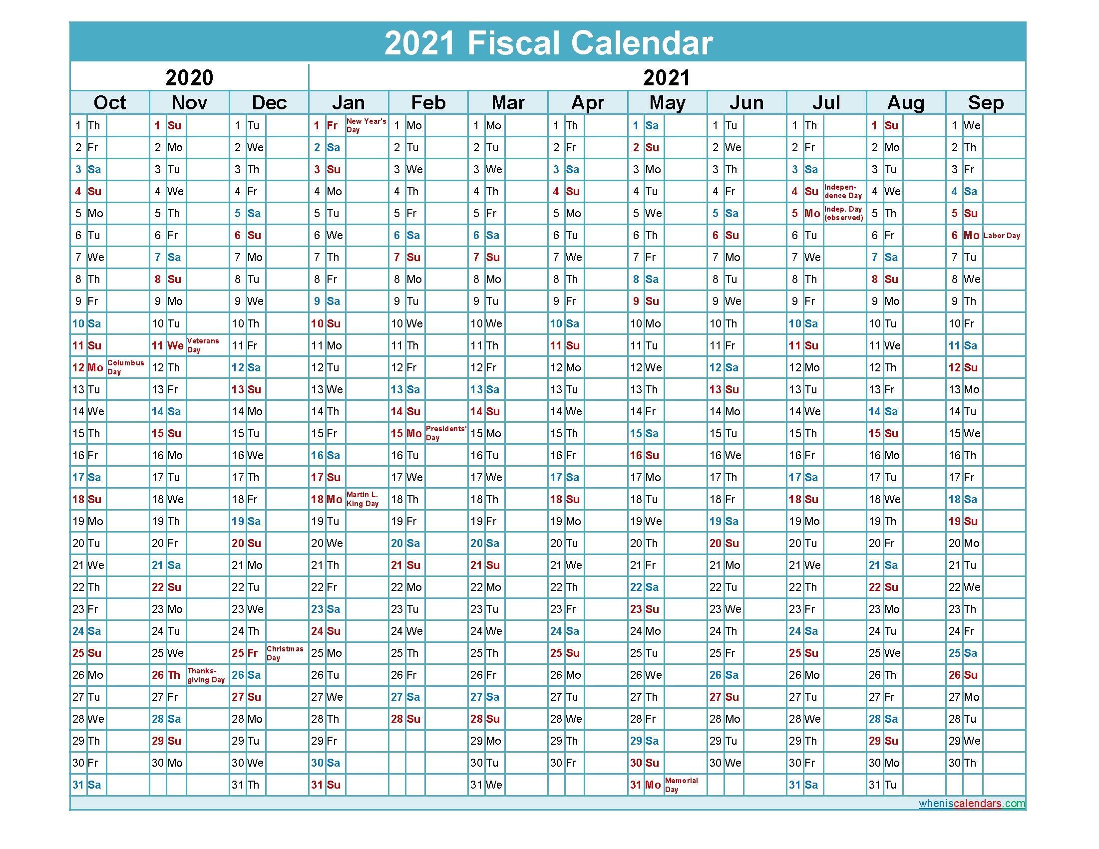 Fiscal Calendar 2021 Federal Fiscal Year – Template No