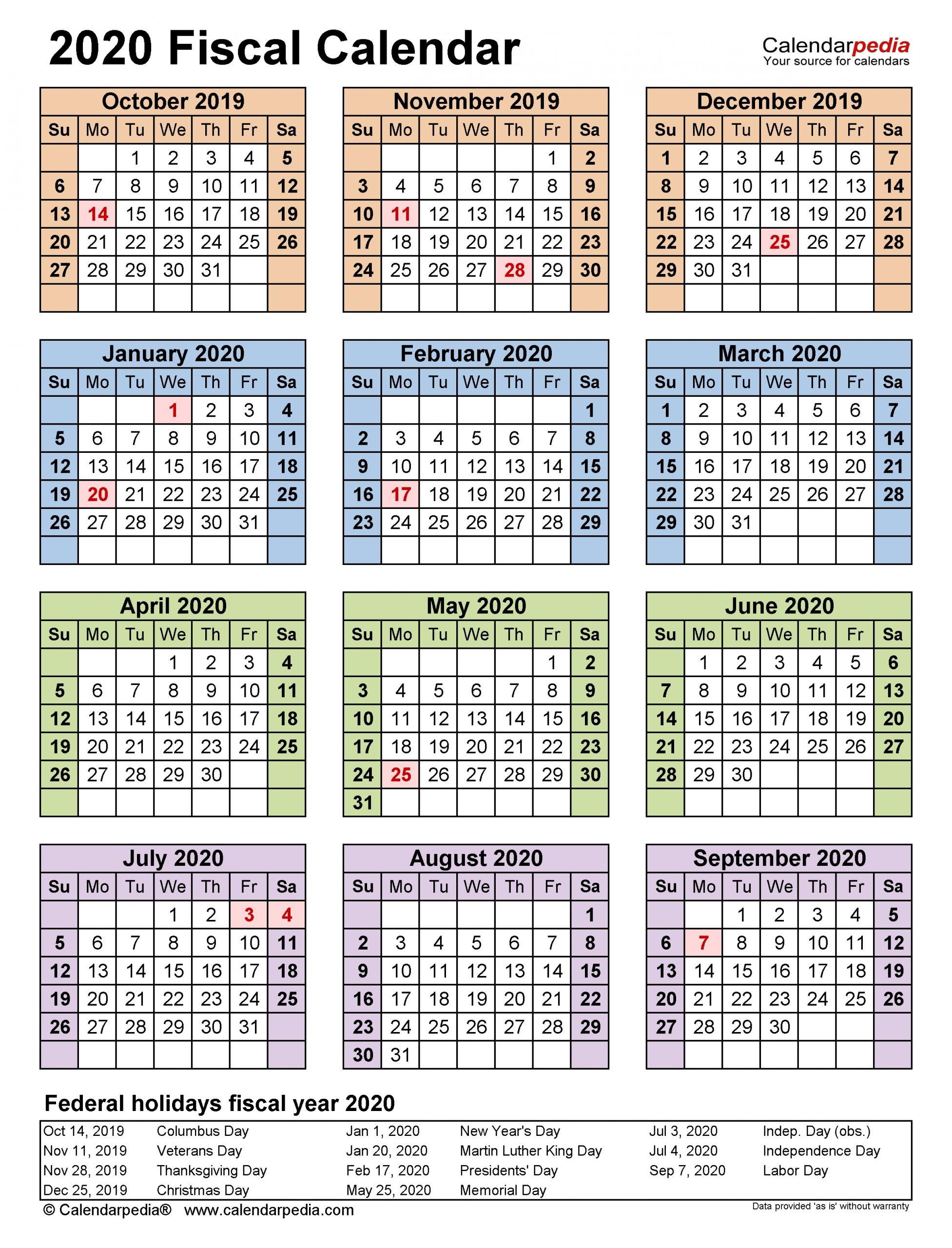 Fiscal Calendars 2020 - Free Printable Pdf Templates