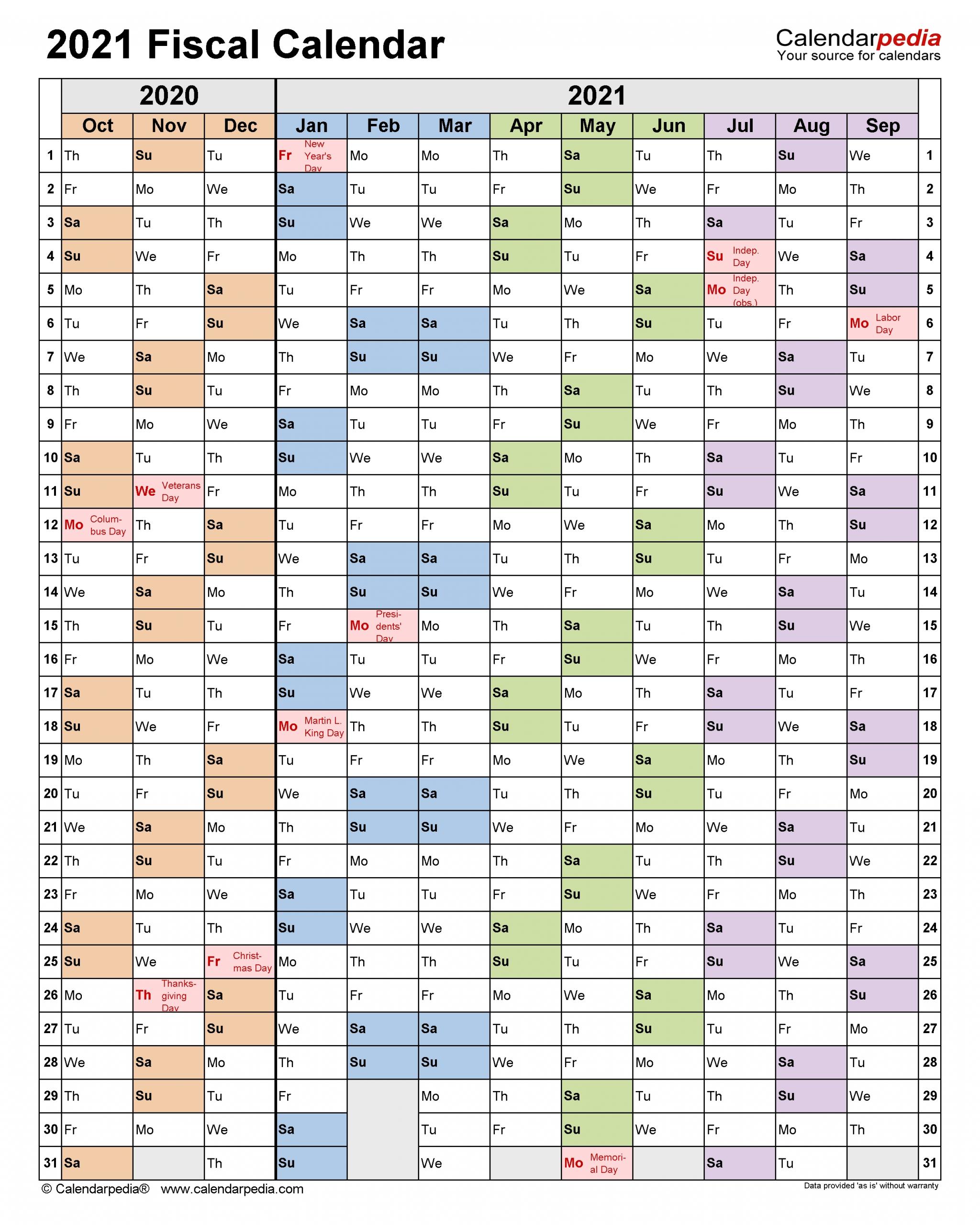 Fiscal Calendars 2021 - Free Printable Pdf Templates