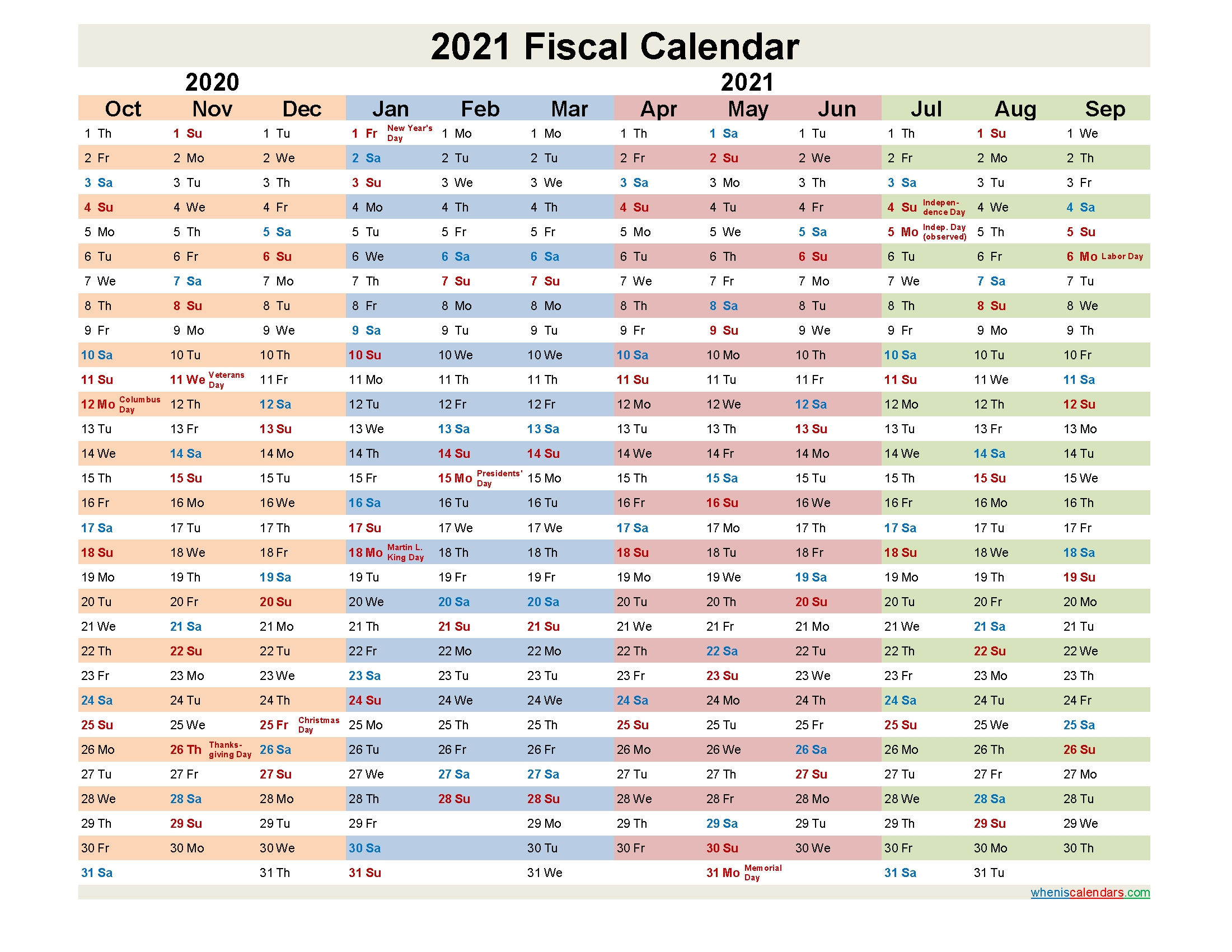 Fiscal Year 2021 Quarters – Template No.fiscal21Y30 – Free