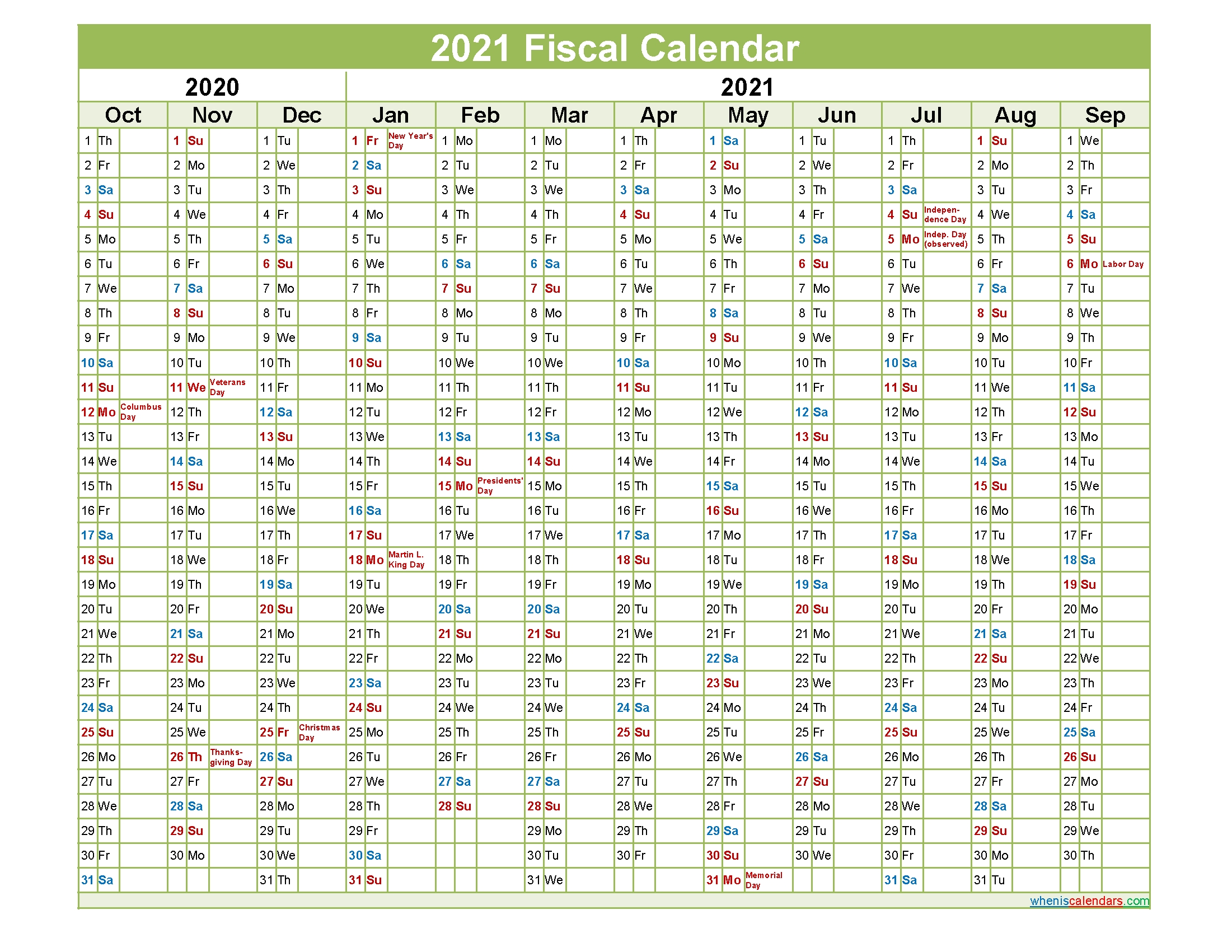 Fiscal Year 2021 Quarters – Template No.fiscal21Y38 – Free