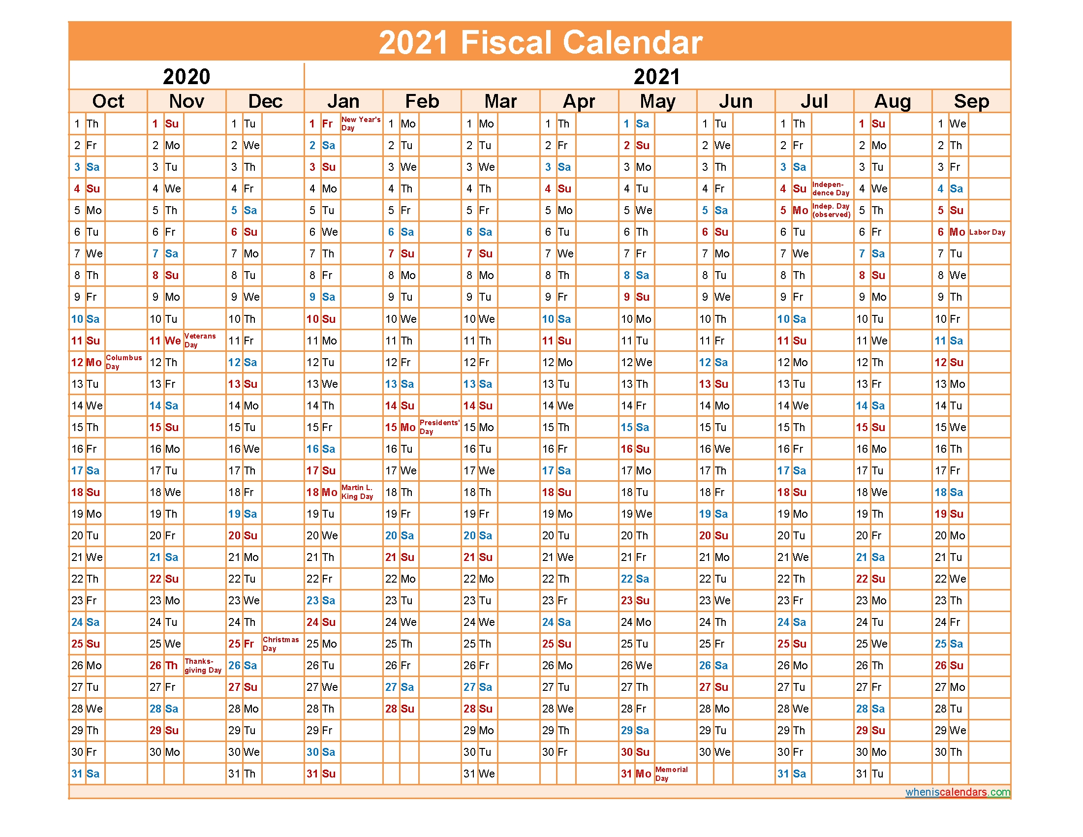 Fiscal Year 2021 Quarters – Template No.fiscal21Y46 – Free