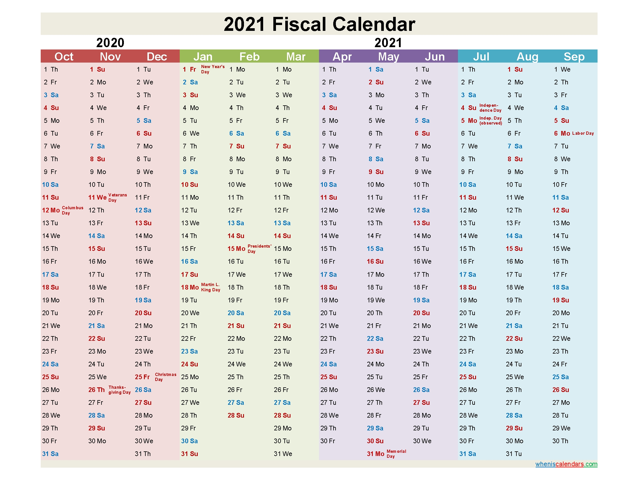 Fiscal Year 2021 Quarters – Template No.fiscal21Y6 – Free