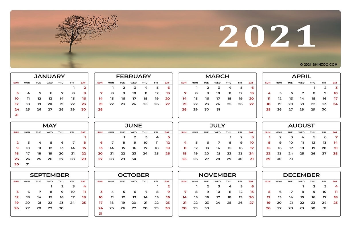 Flock Of Birds On A Lone Tree: 2021 Calendar 11X17 Printable