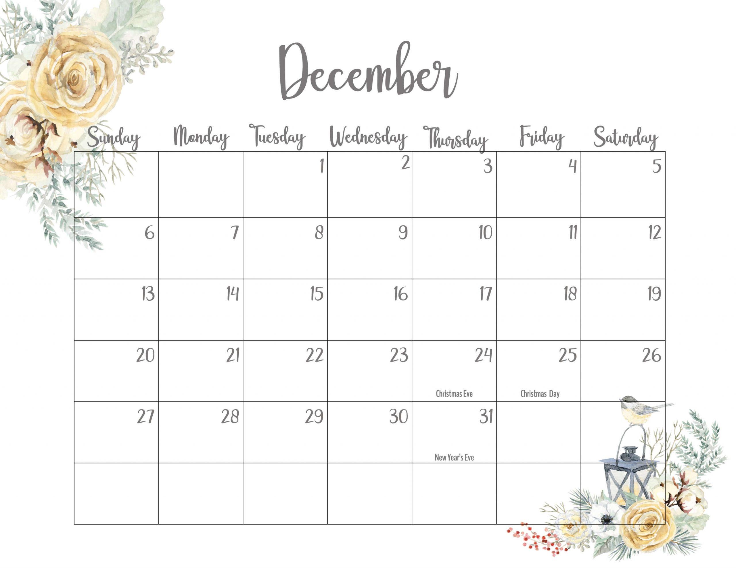 Floral December 2020 Calendar Printable - Time Management