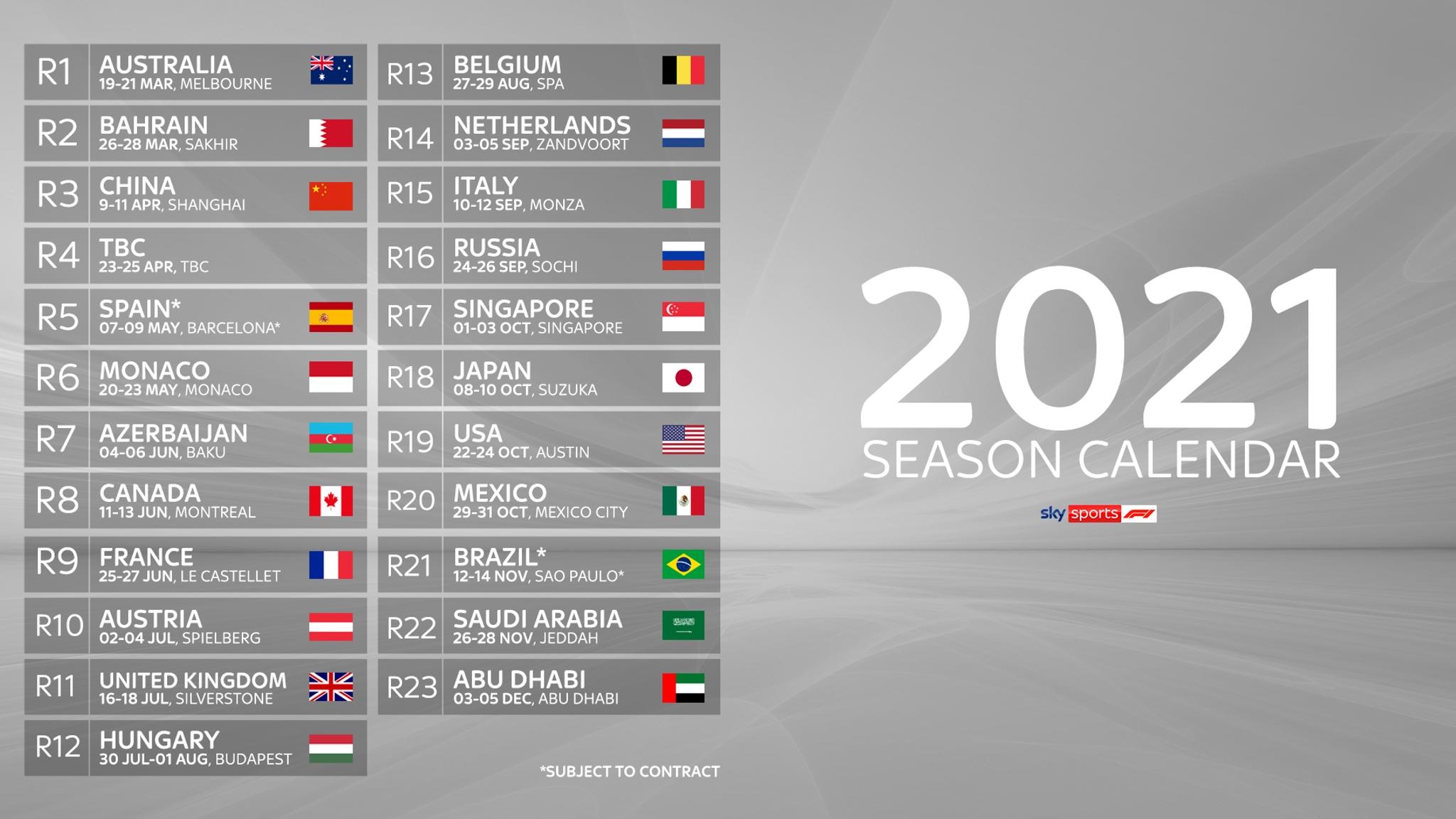 Formula 1 Reveals Record-Length Race Calendar For 2021