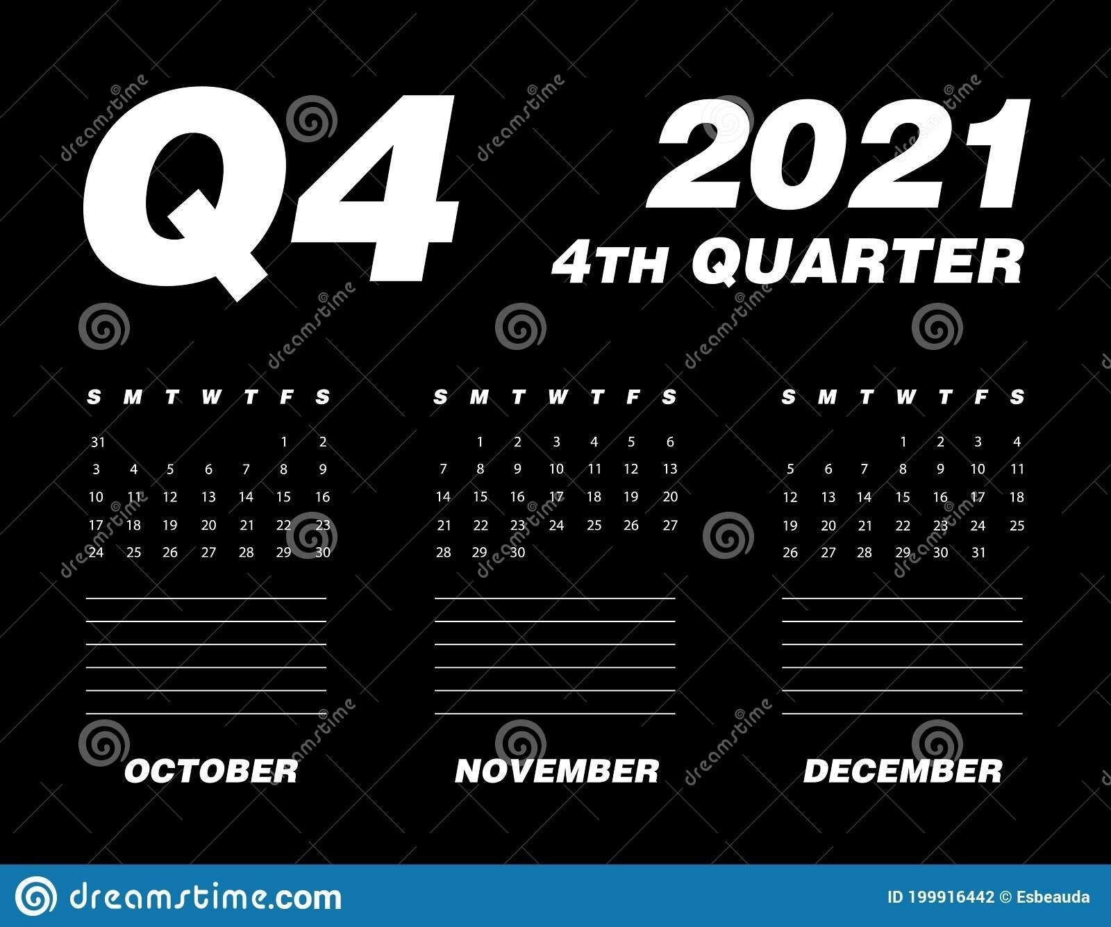 Fourth Quarter Of Calendar 2021 Stock Vector - Illustration