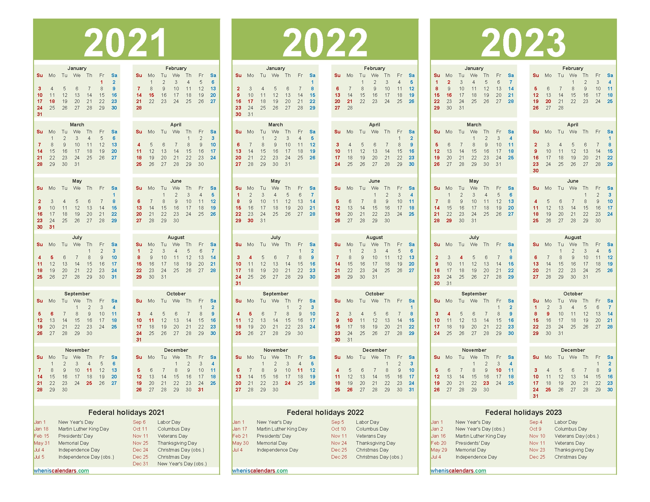 Free 2021 And 2022 And 2023 Calendar With Holidays – Free