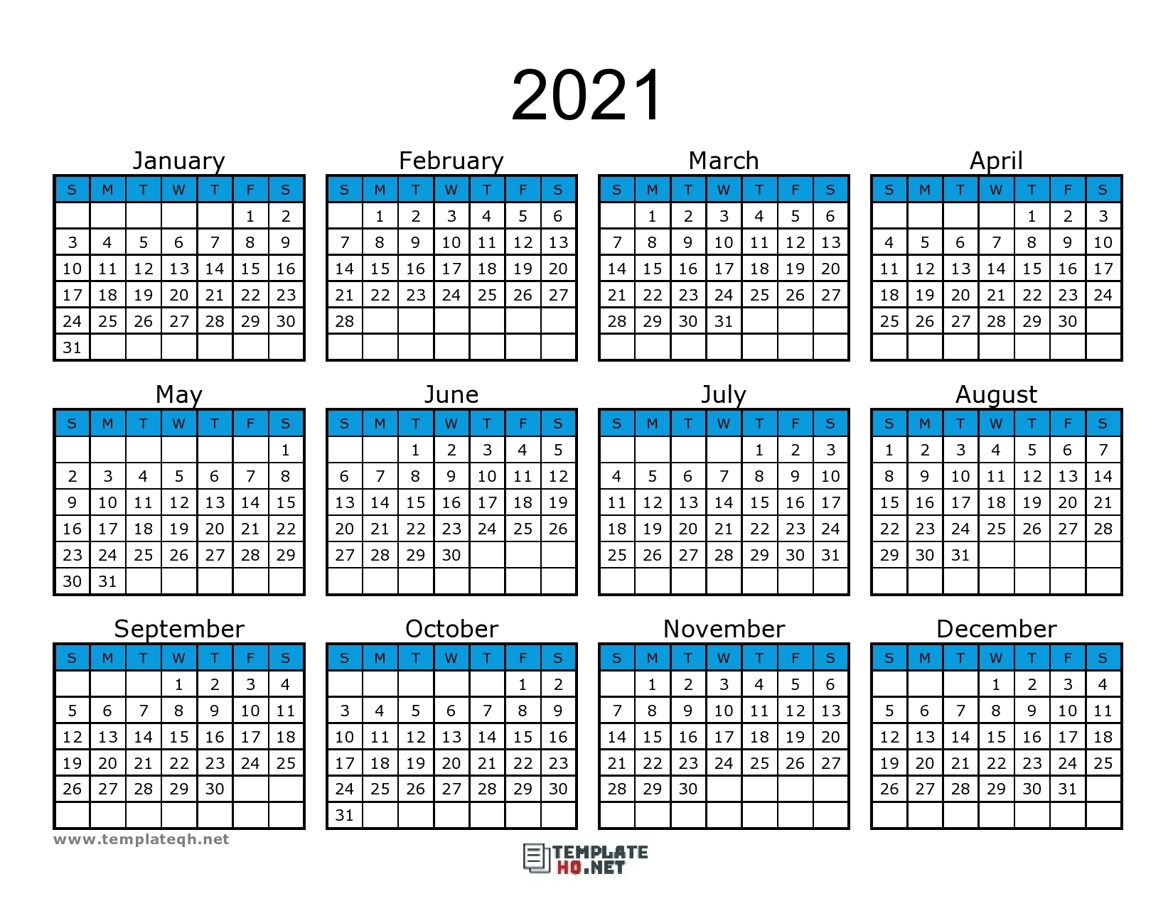 Free 2021 Calendar Printable - Template Hq
