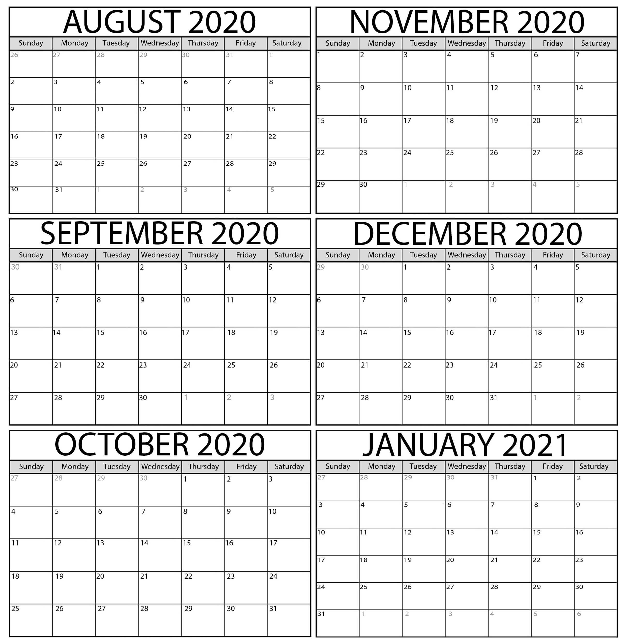 Free August 2020 To January 2021 Calendar Printable Template