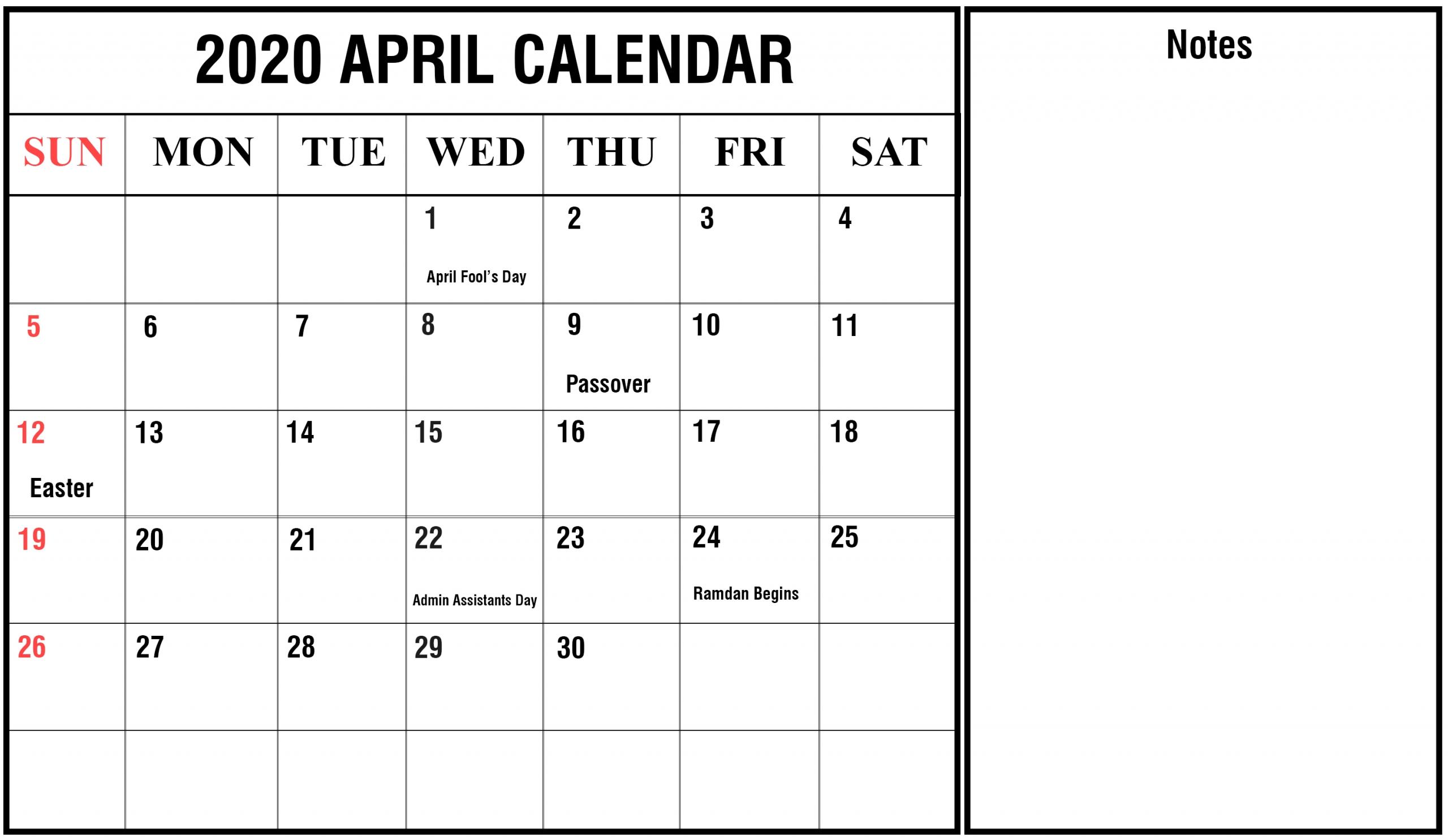 Free Blank April Calendar 2020 Printable Template Editable