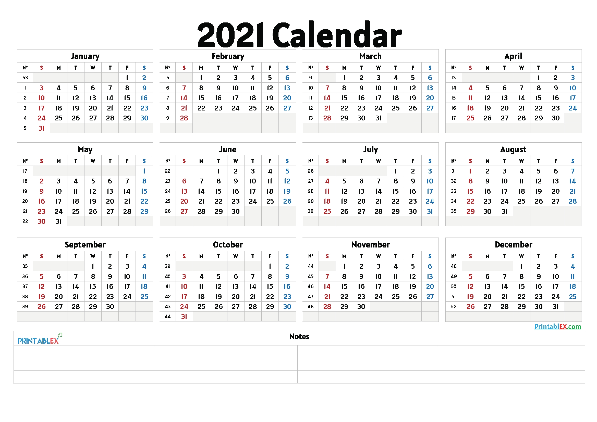 Free Cute Printable Calendar 2021 – 6 Templates – Free