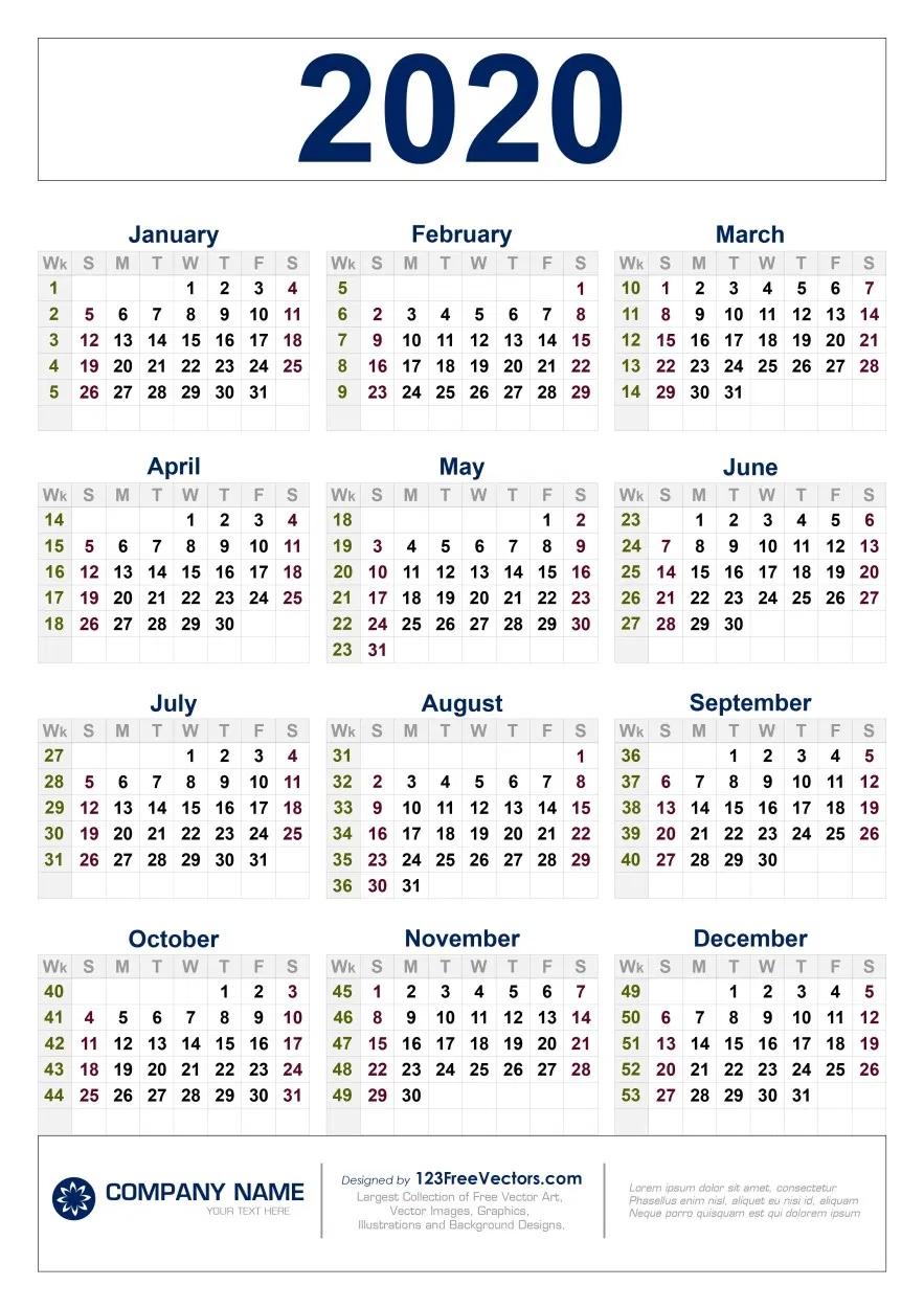 Free Download 2020 Calendar With Week Numbers In 2020