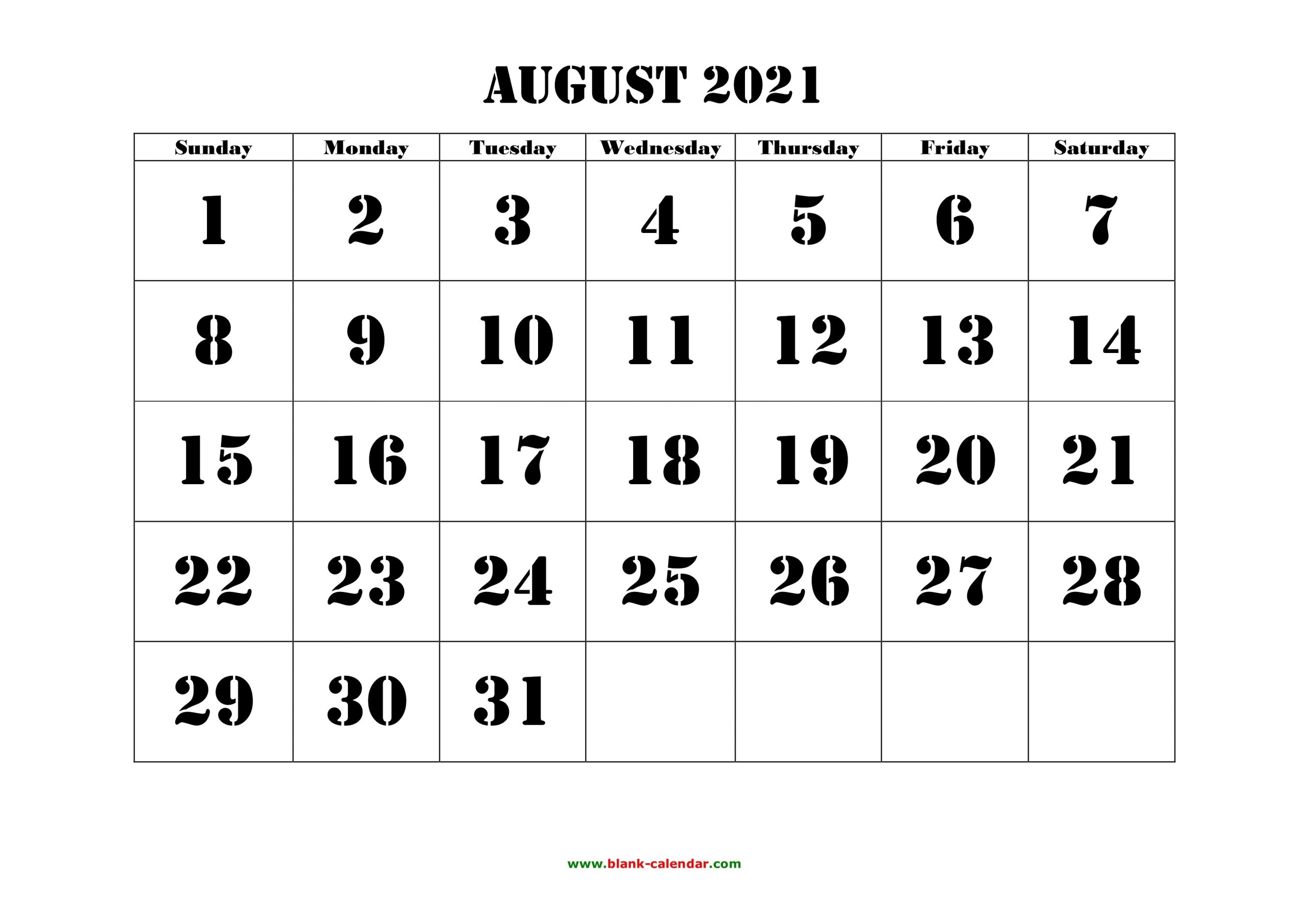 Free Download Printable August 2021 Calendar, Large Font