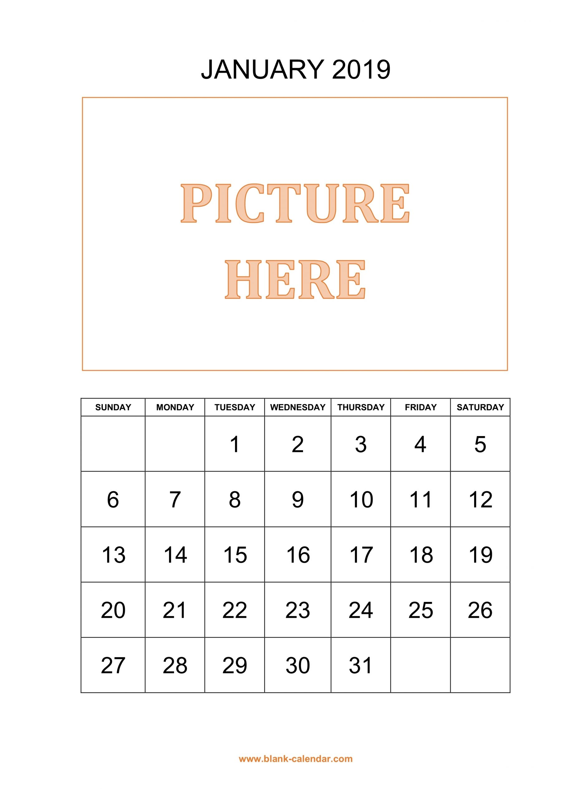 Free Download Printable Calendar 2019, Pictures Can Be
