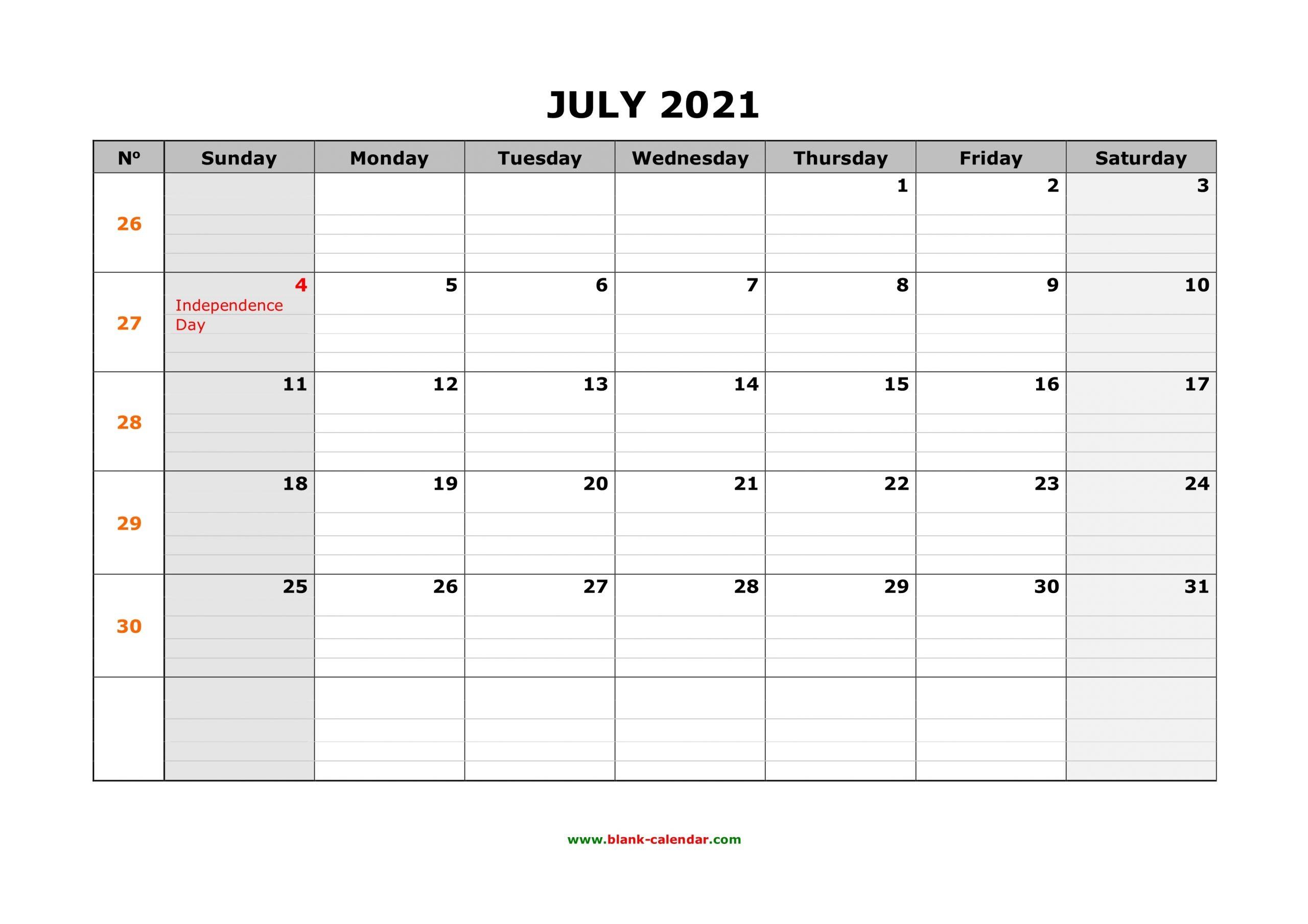 Free Download Printable July 2021 Calendar, Large Box Grid
