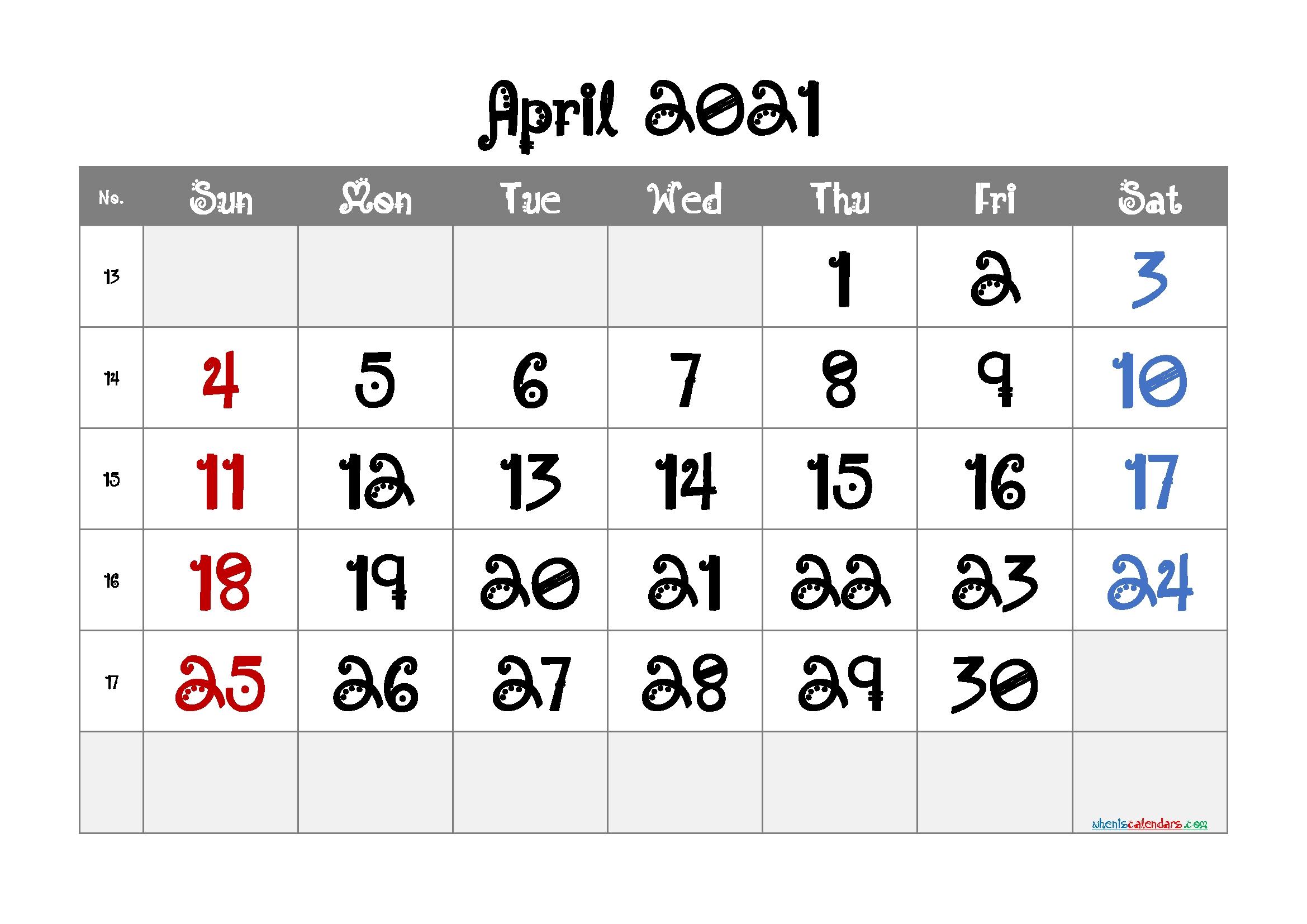 Free Editable April 2021 Calendar   Template