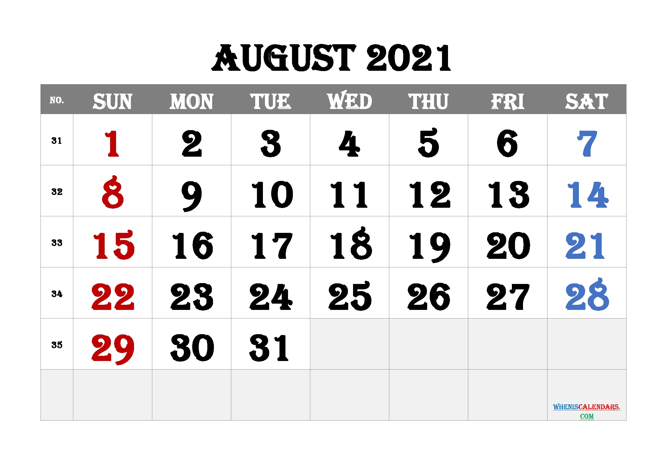 Free Editable August 2021 Calendar (12 Templates) – Free