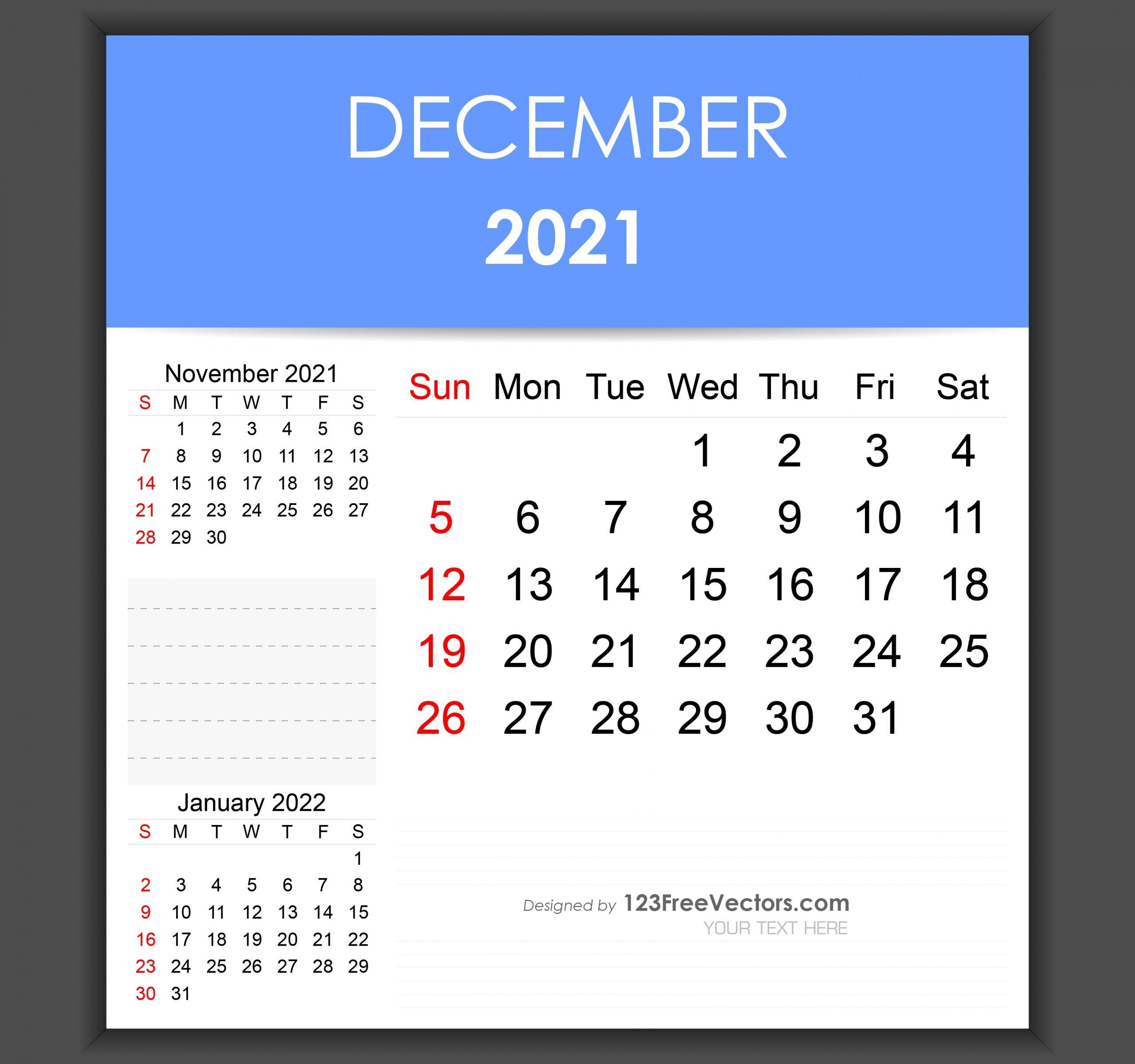 Free Editable December 2021 Calendar Template