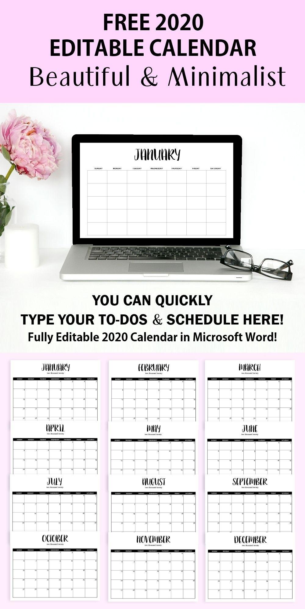 Free Fully Editable 2020 Calendar Template In Word