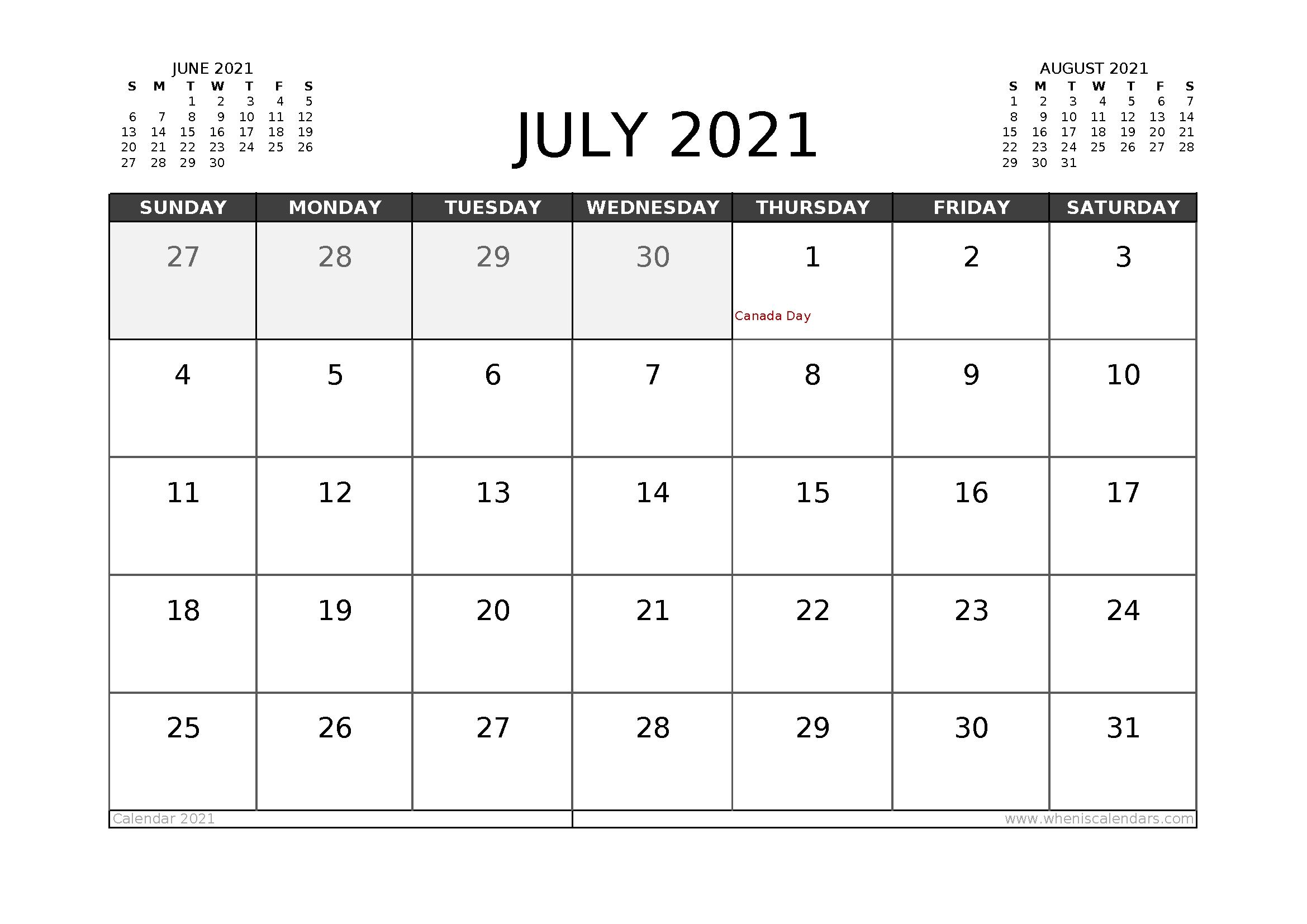 Free July 2021 Calendar Canada Printable 12 Templates – Free