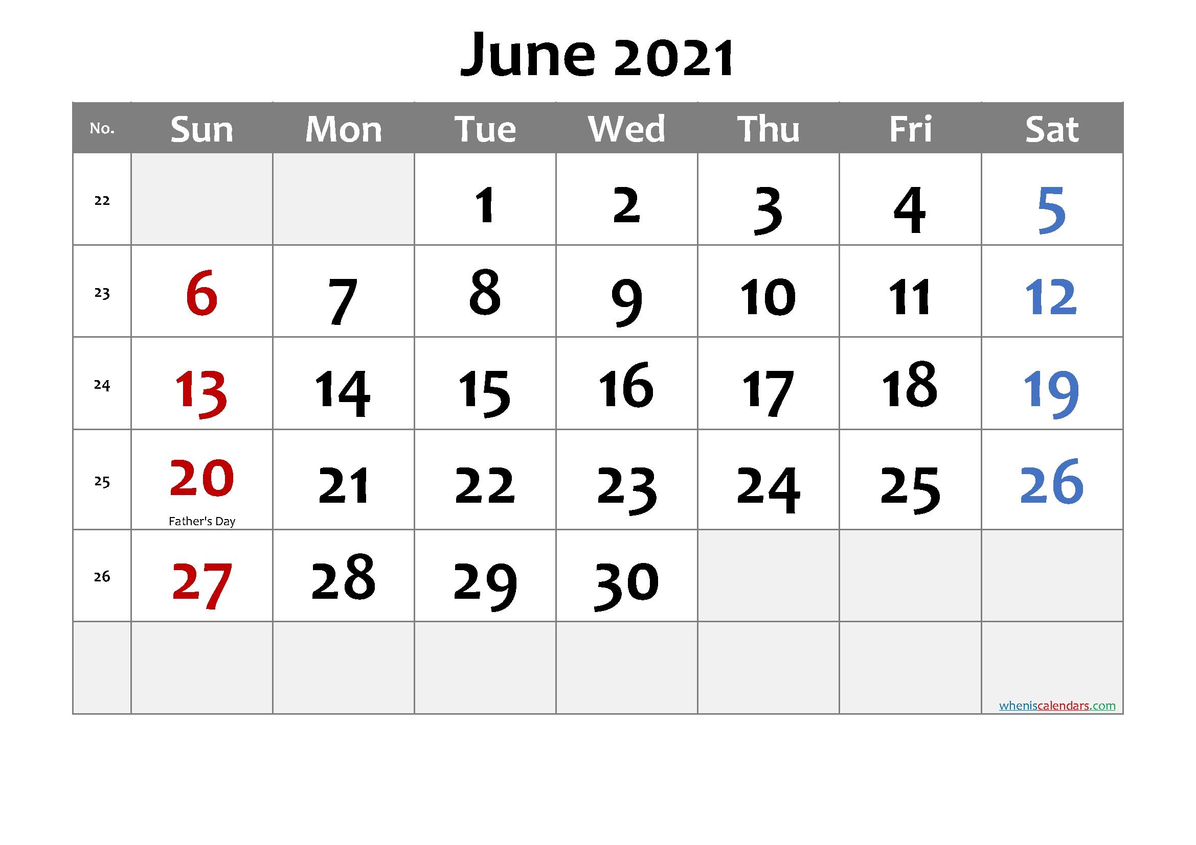Free June 2021 Calendar Printable – Free Printable 2020