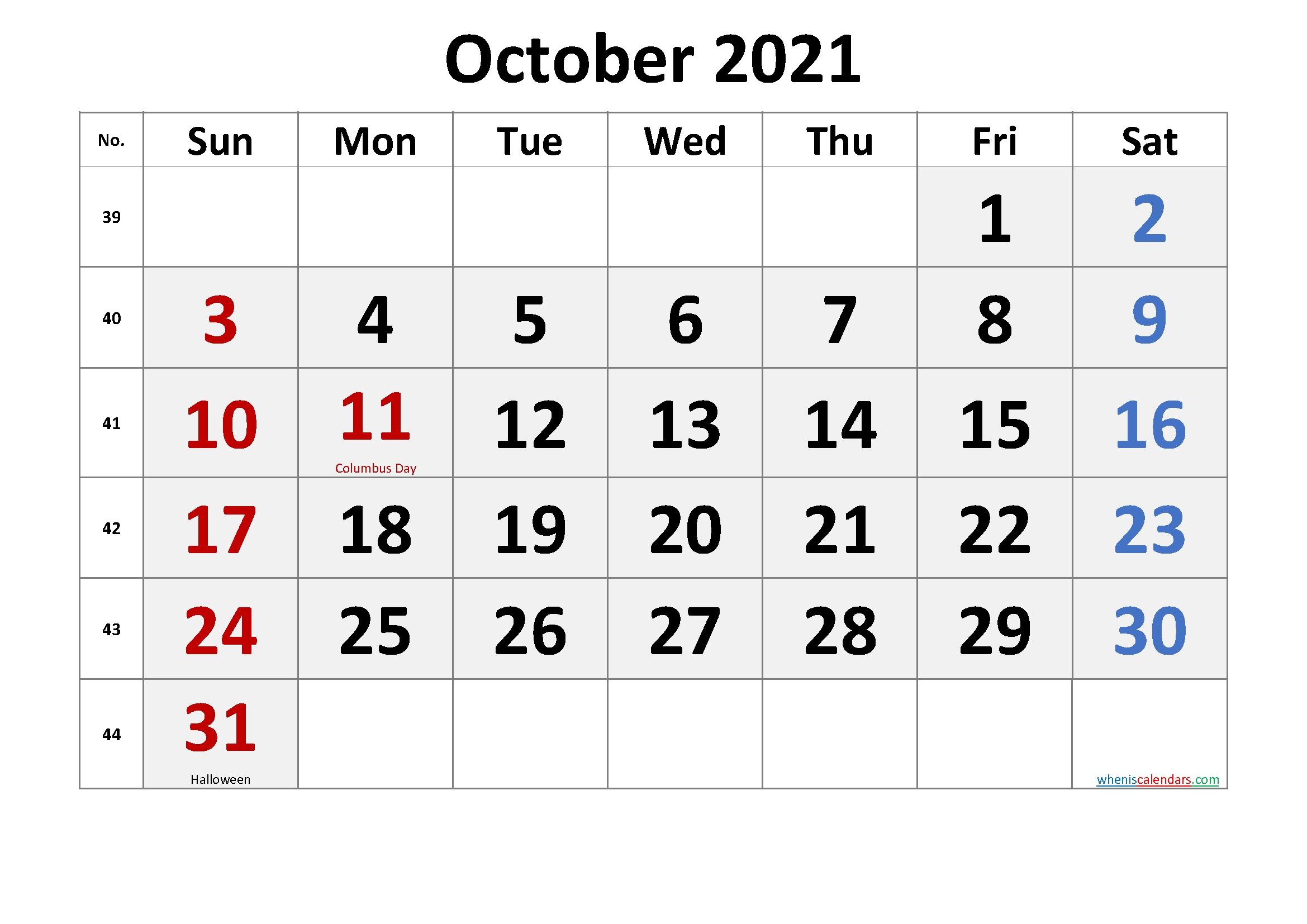 Free October 2021 Calendar Printable – Free Printable 2020