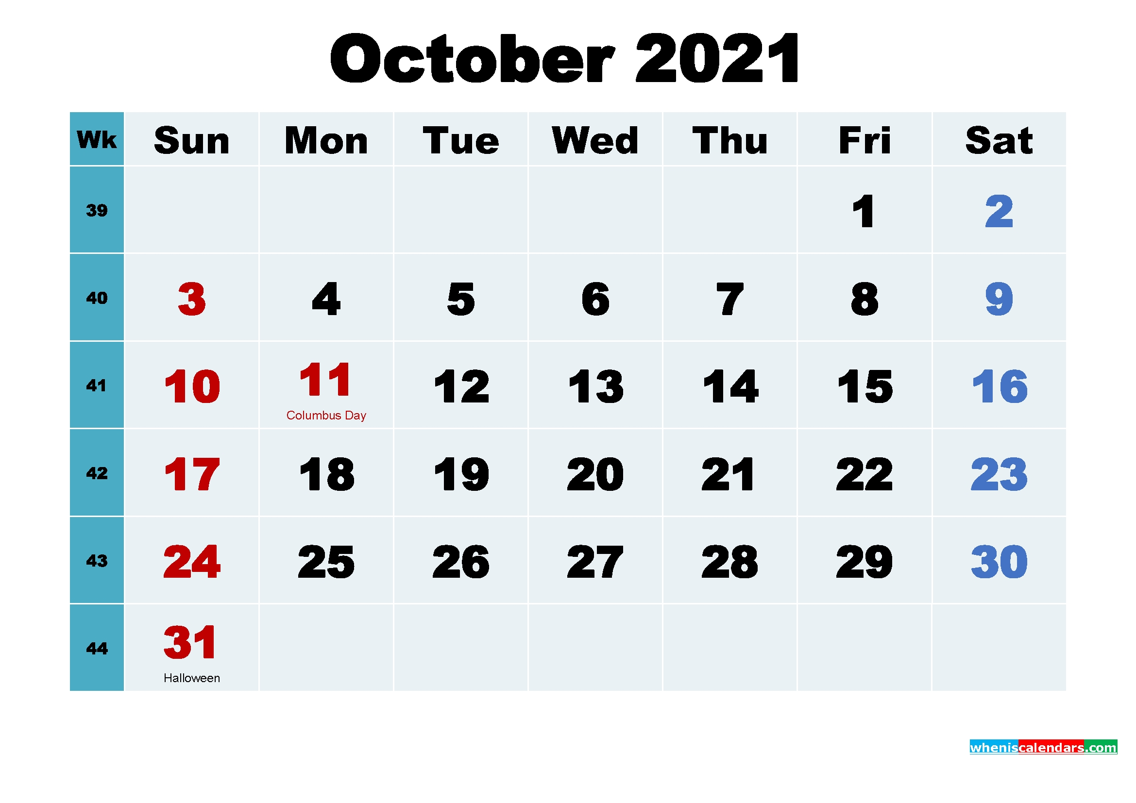 Free October 2021 Printable Calendar With Holidays – Free