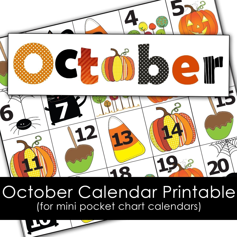 Free October Calendar Cards | Calendar Printables, Pocket