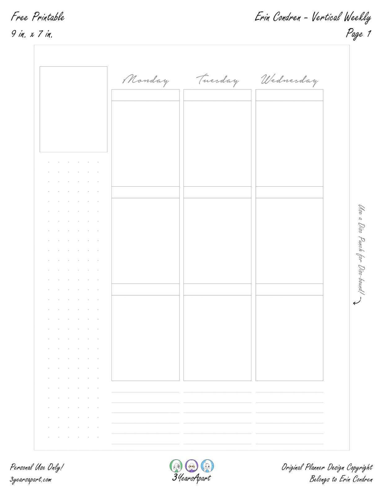 Free Planner Printable - Vertical Weekly Inserts - Ring