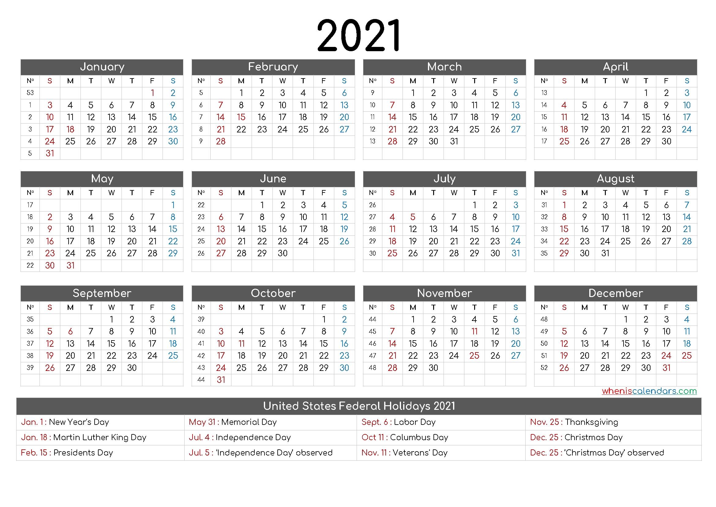 Free Printable 12 Month Calendar 2021 – 12 Templates – Free