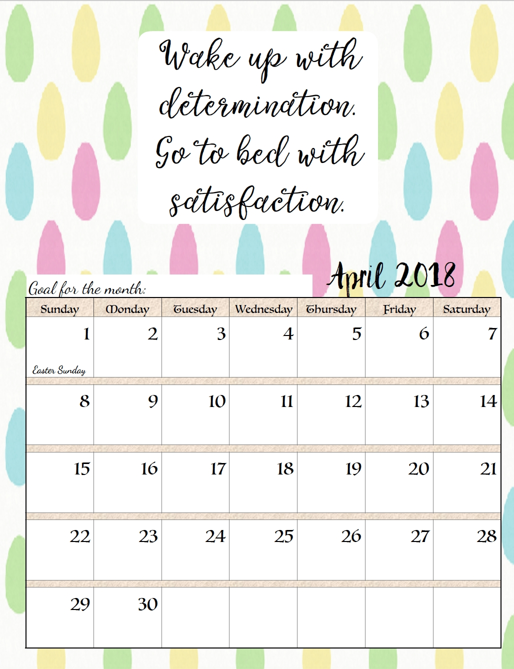 Free Printable 2018 Monthly Motivational Calendars. Space