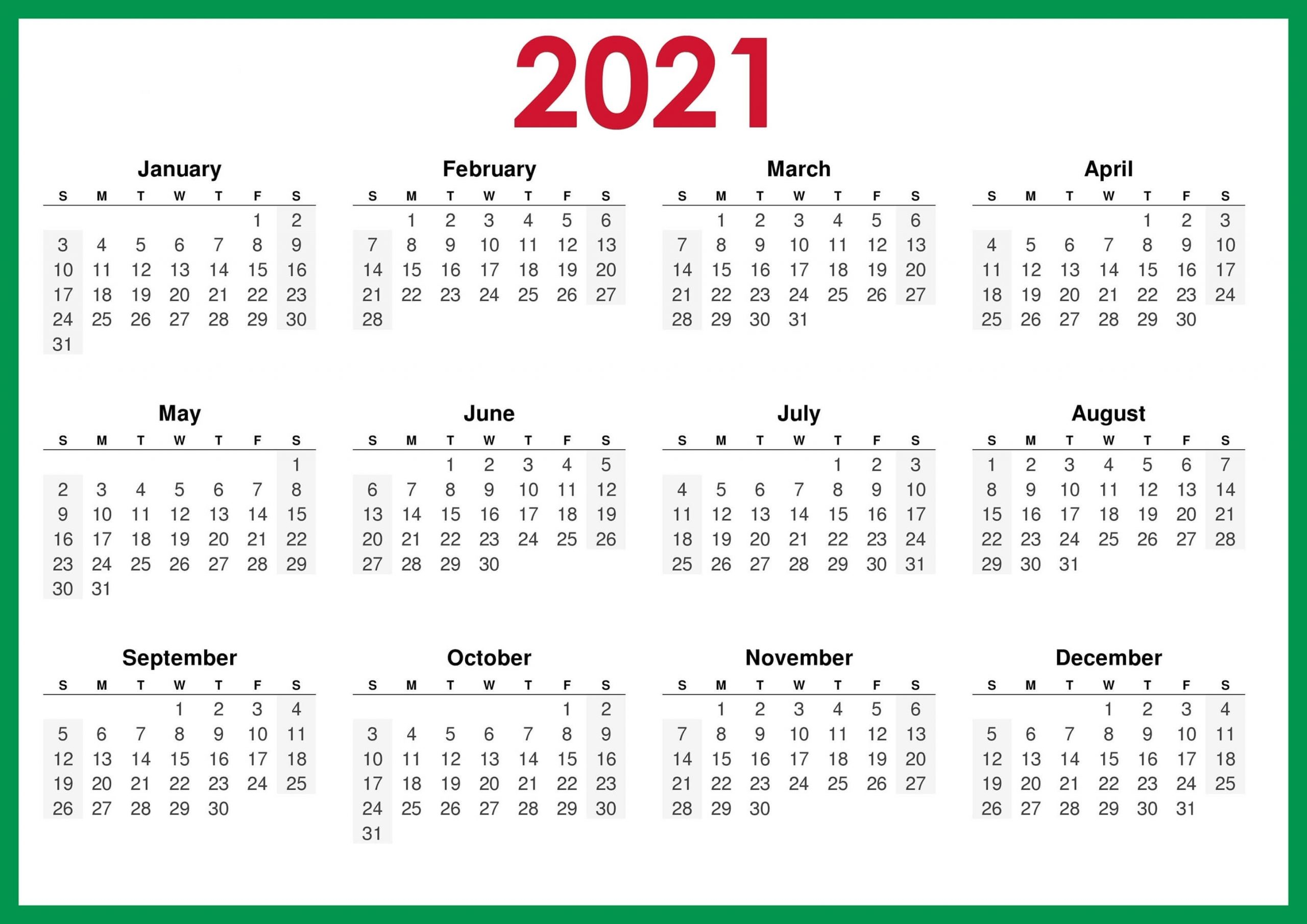 Free Printable 2021 Calendar – One Page Template