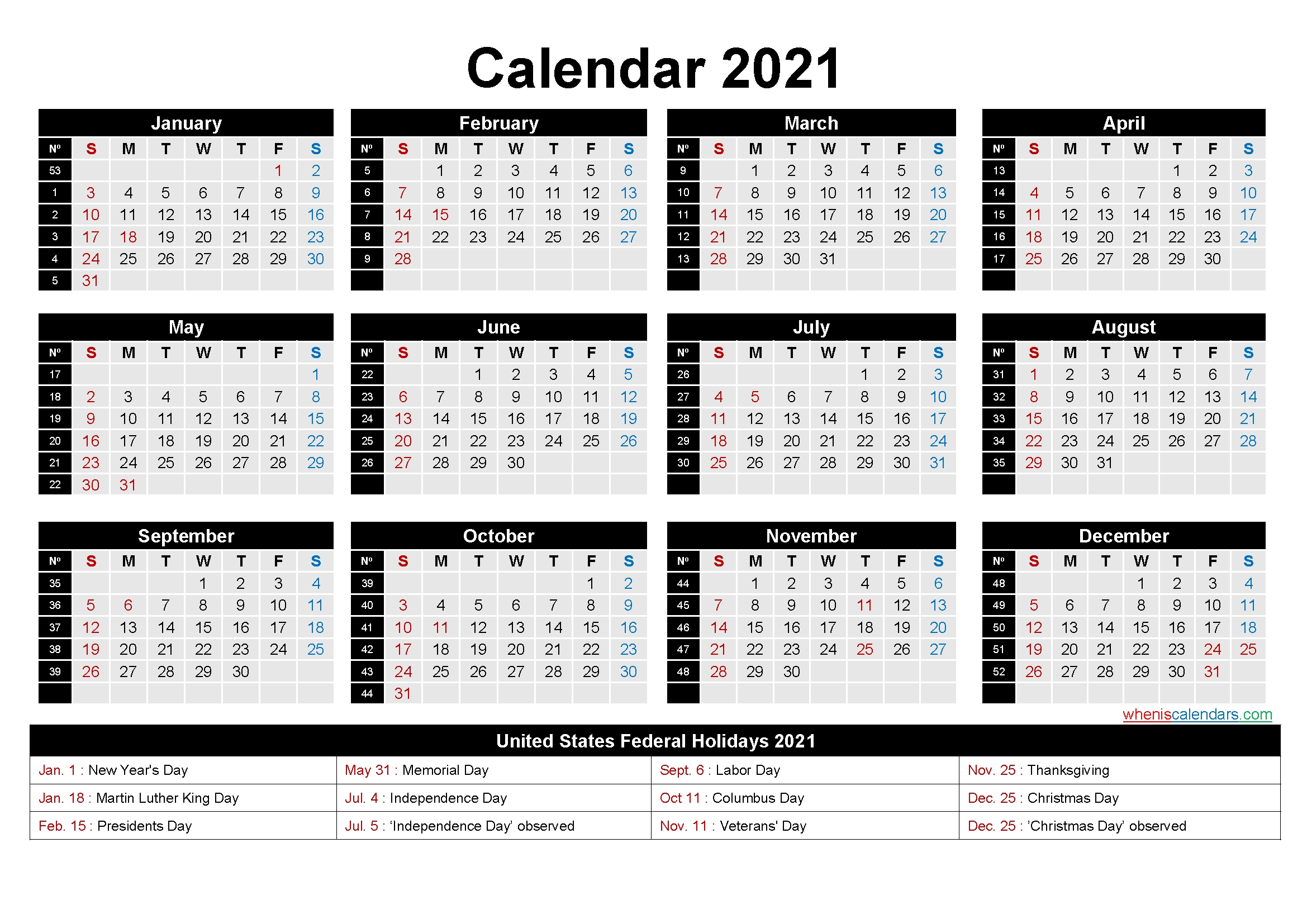 Free Printable 2021 Calendar With Holidays As Word, Pdf