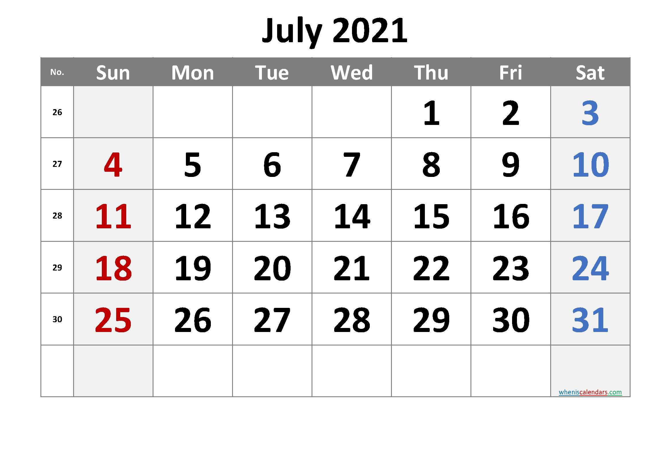 Free Printable 2021 July Calendar – Free 2020 And 2021