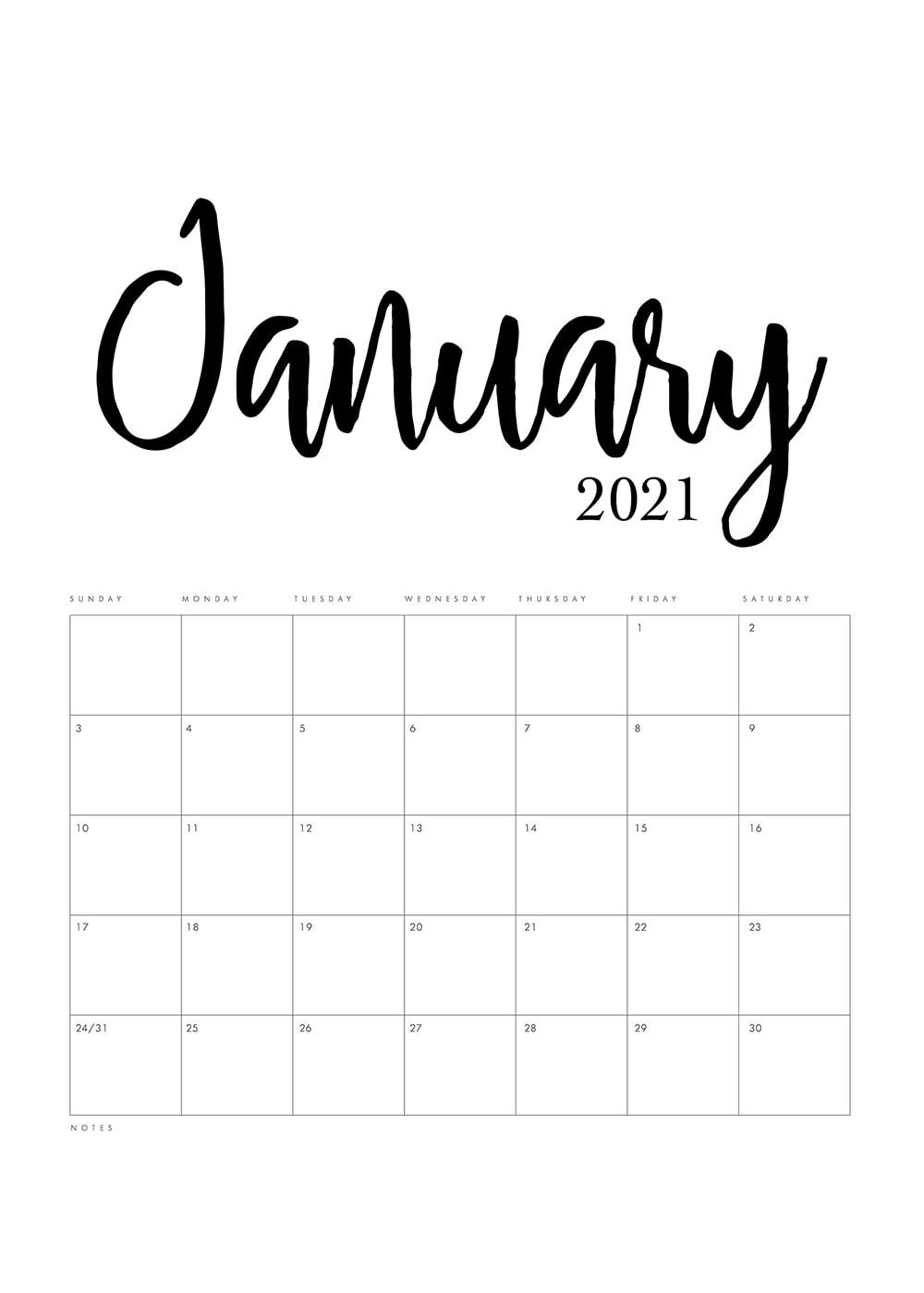 Free Printable 2021 Minimalist Calendar - The Cottage Market