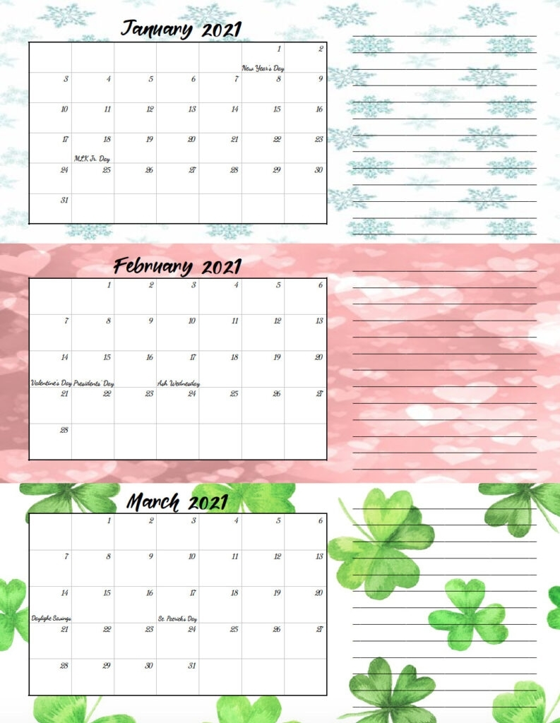 Free Printable 2021 Quarterly Calendars With Holidays: 3 Designs