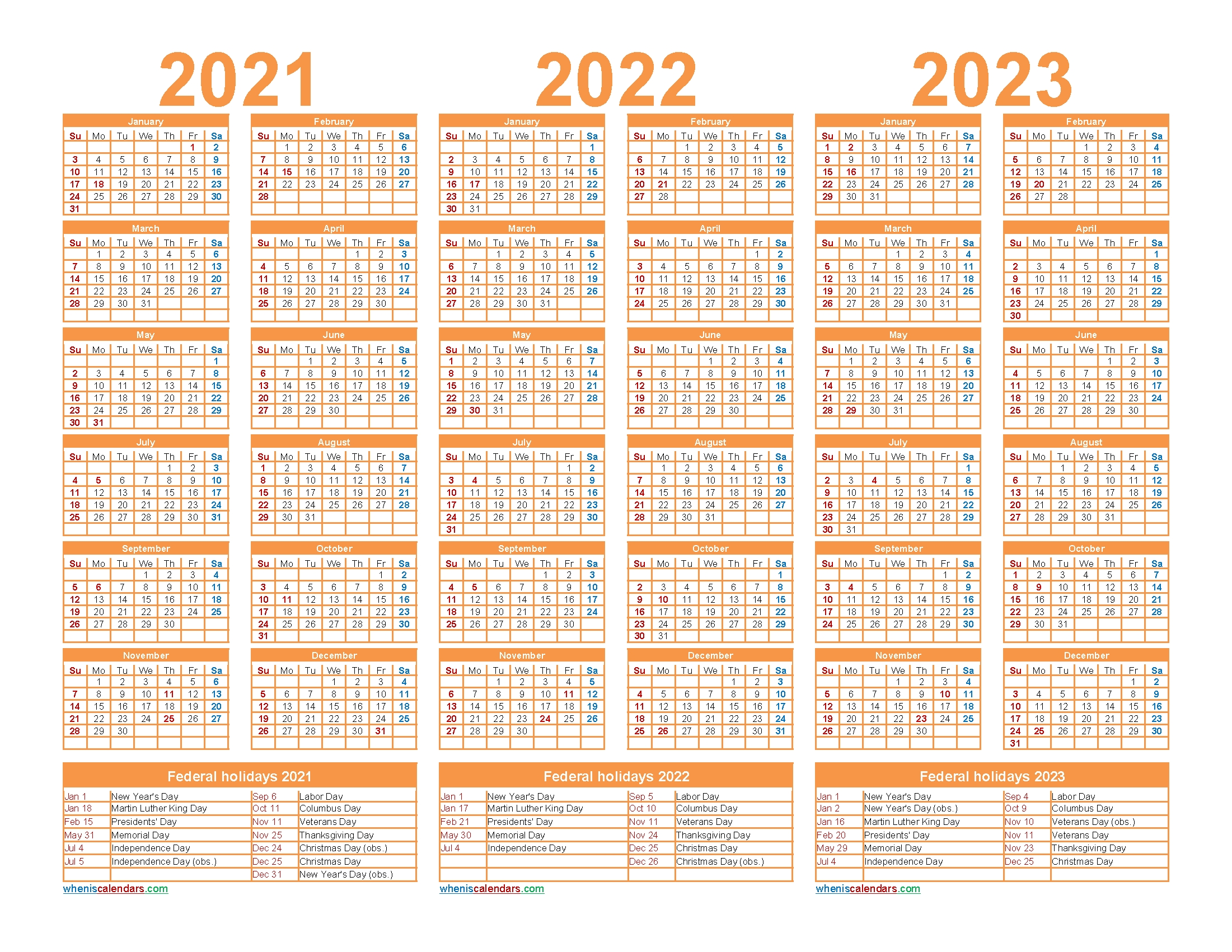 Free Printable 2021 To 2023 Calendar With Holidays – Free